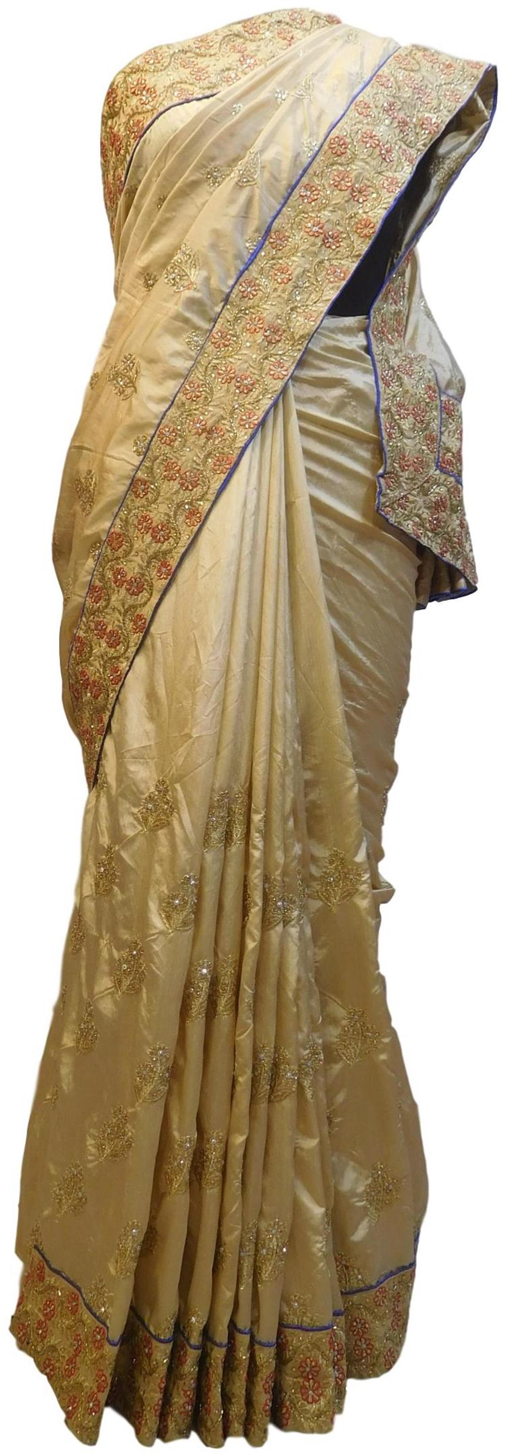 Cream Designer Wedding Partywear Silk Hand Embroidery Zari Cutdana Stone Thread Work Kolkata Saree Sari E350