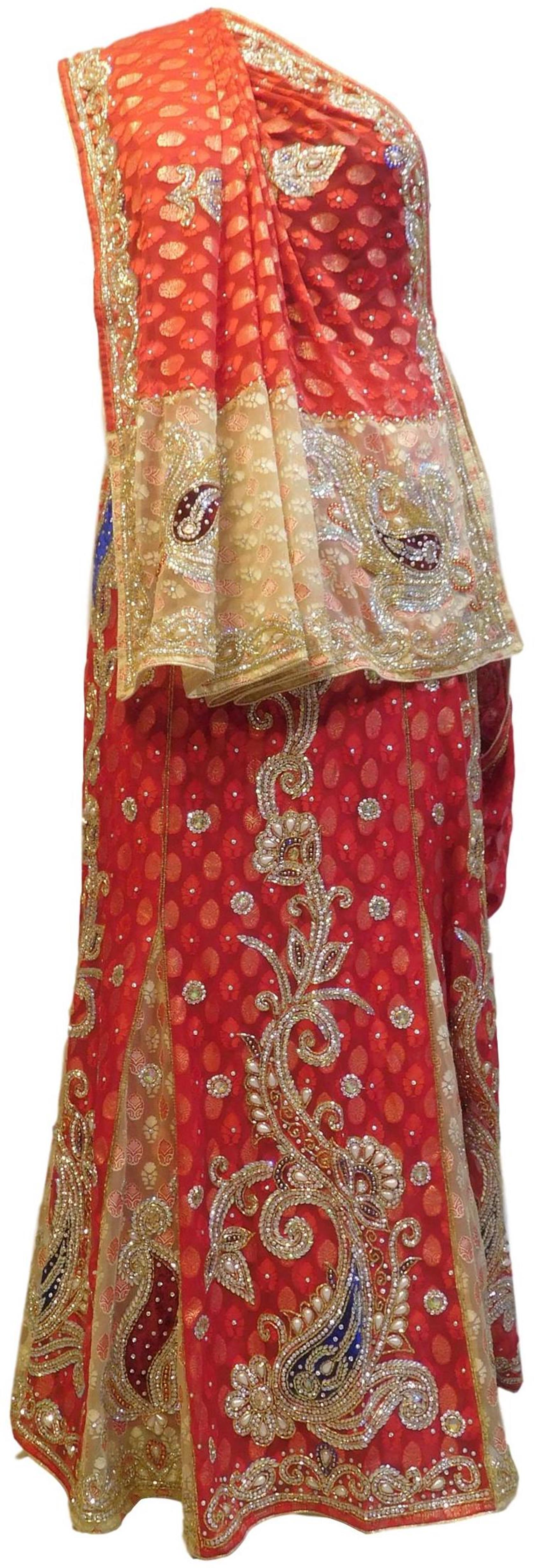 Red & Beige Designer Wedding Party Wear Brasso Hand Embroidery Beads Cutdana Stone Work Bridal Saree Sari E353