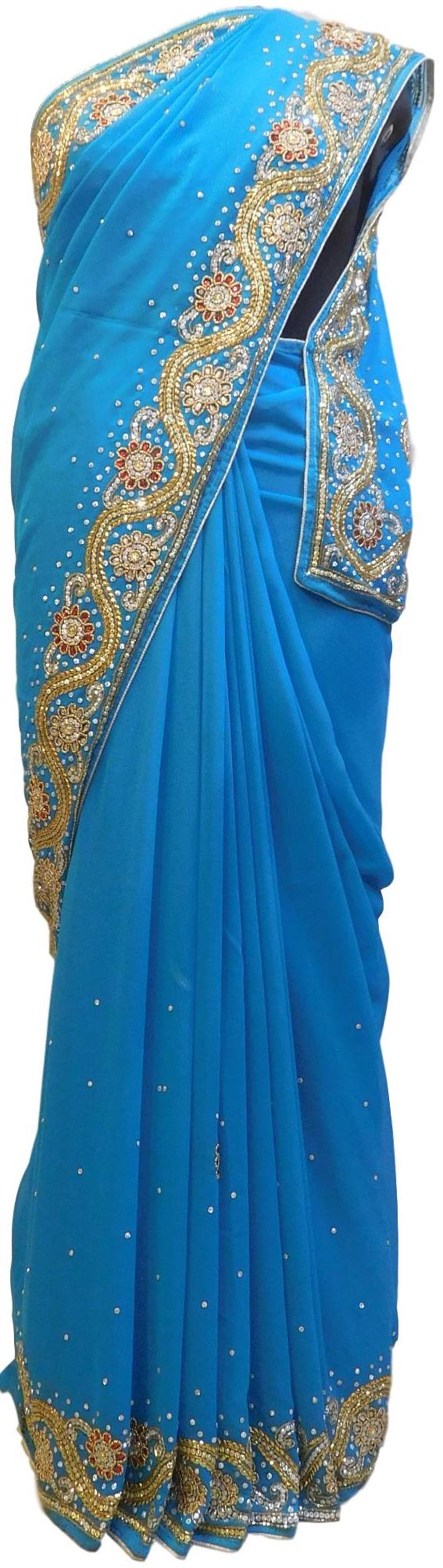 Blue Designer Wedding Partywear Georgette Hand Embroidery Cutdana Stone Beads Work Kolkata Saree Sari E360