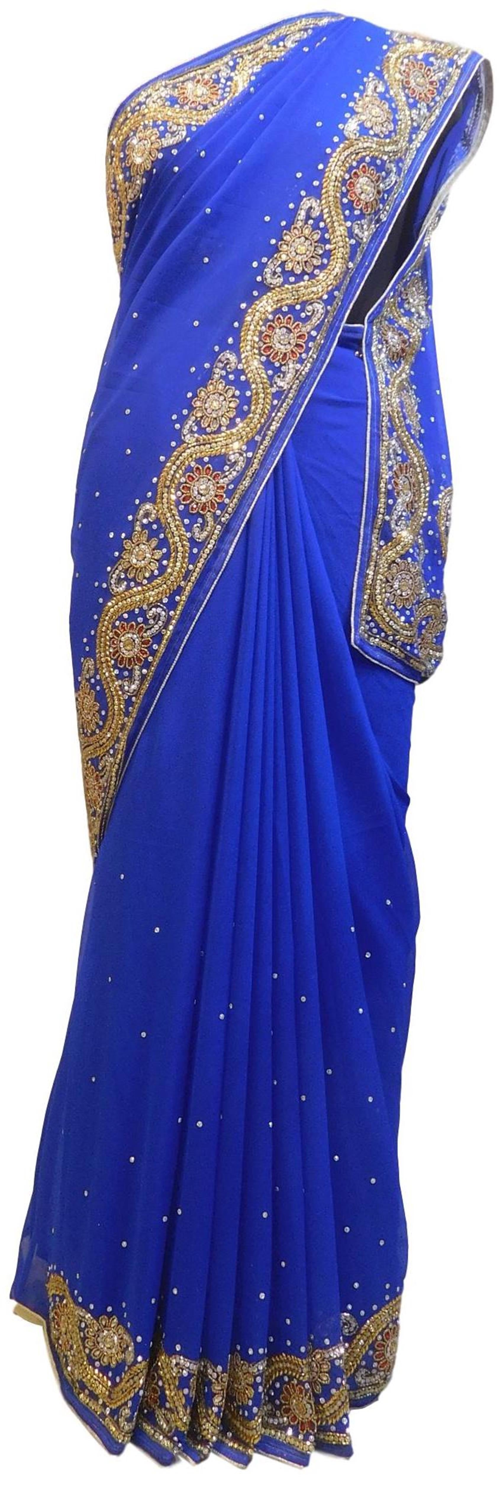 Blue Designer Wedding Partywear Georgette Hand Embroidery Cutdana Stone Beads Work Kolkata Saree Sari E362