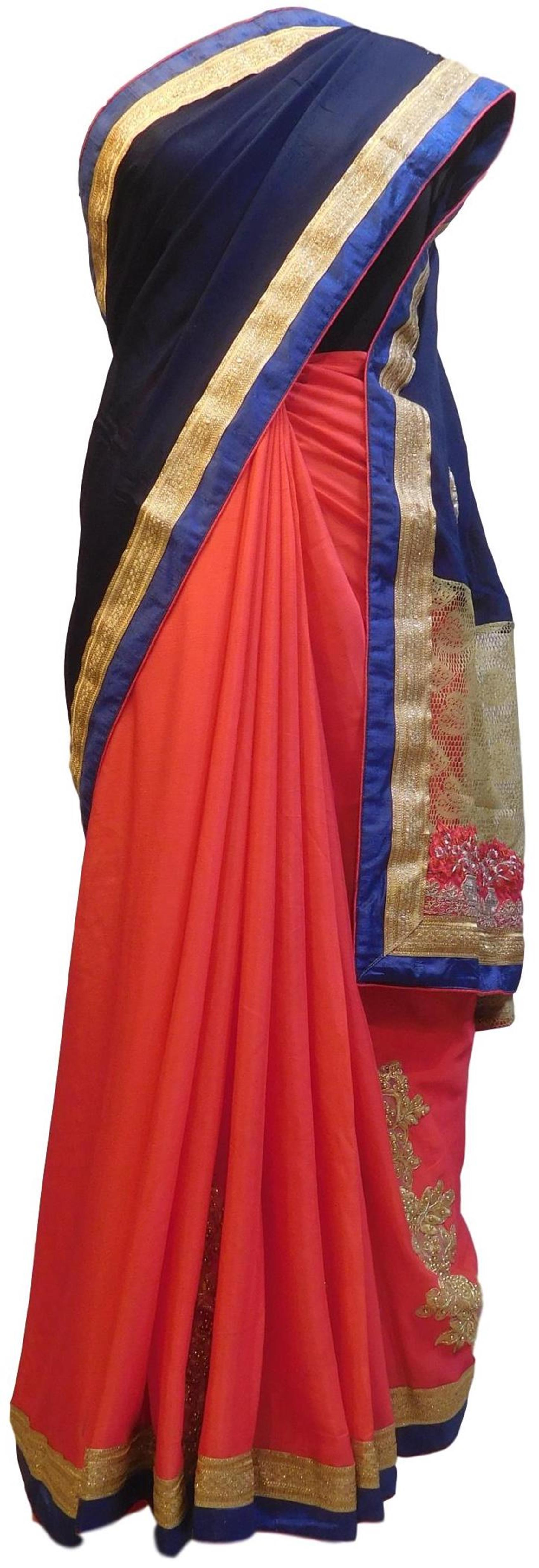 Blue & Red Designer PartyWear Bridal Crepe (Chinon) Beads Zari Thread Stone Pearl Hand Embroidery Work Wedding Saree Sari E374