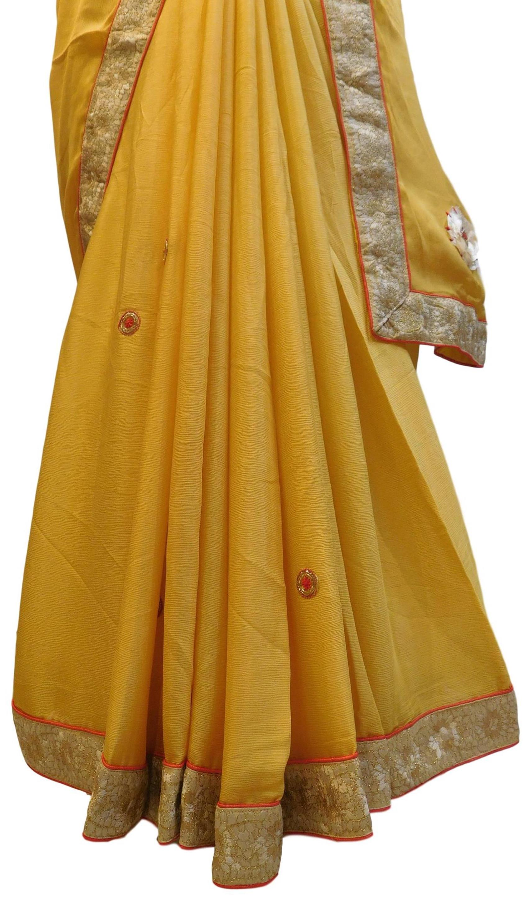 Yellow Designer PartyWear Bridal Crepe (Chinon) Beads Zari Thread Stone Pearl Hand Embroidery Work Wedding Saree Sari E377