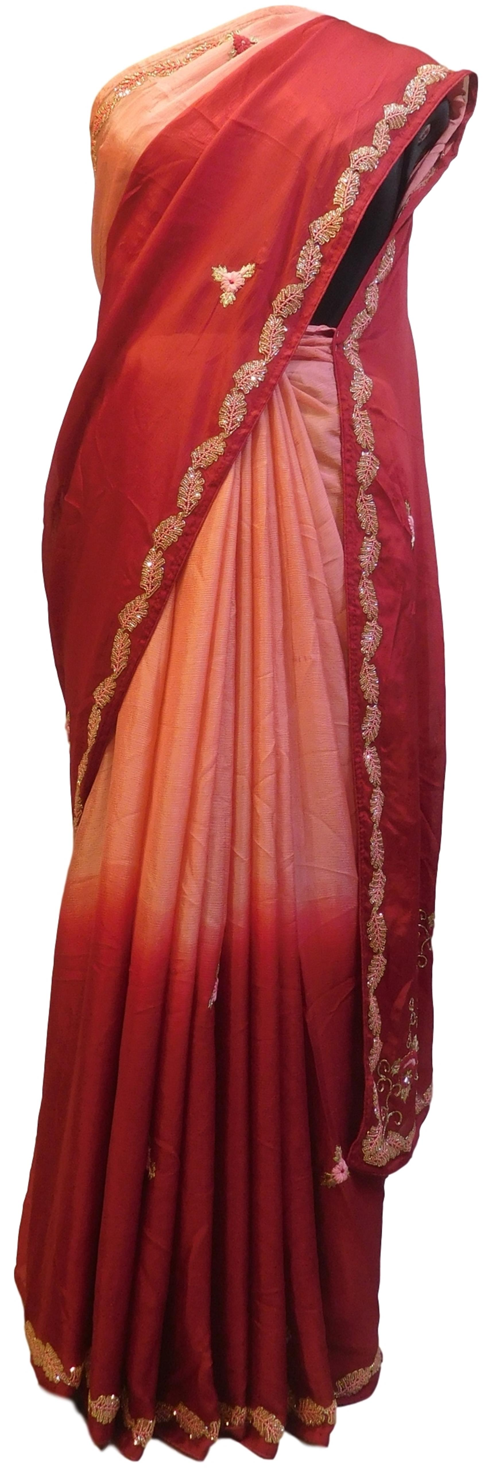 Pink & Red Designer PartyWear Bridal Crepe (Chinon) Beads Zari Thread Stone Pearl Hand Embroidery Work Wedding Saree Sari E395