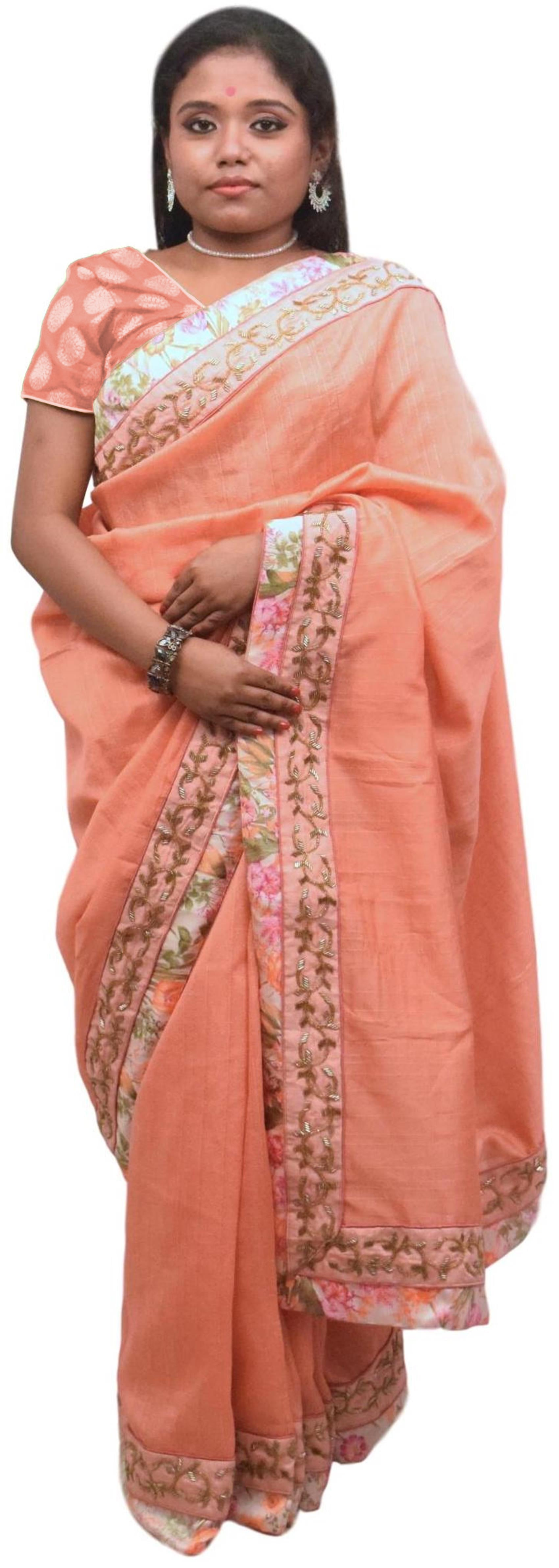 Peach Designer Wedding Partywear Silk Zari Beads Cutdana Hand Embroidery Work Floral Printed Border Bridal Saree Sari PSE404