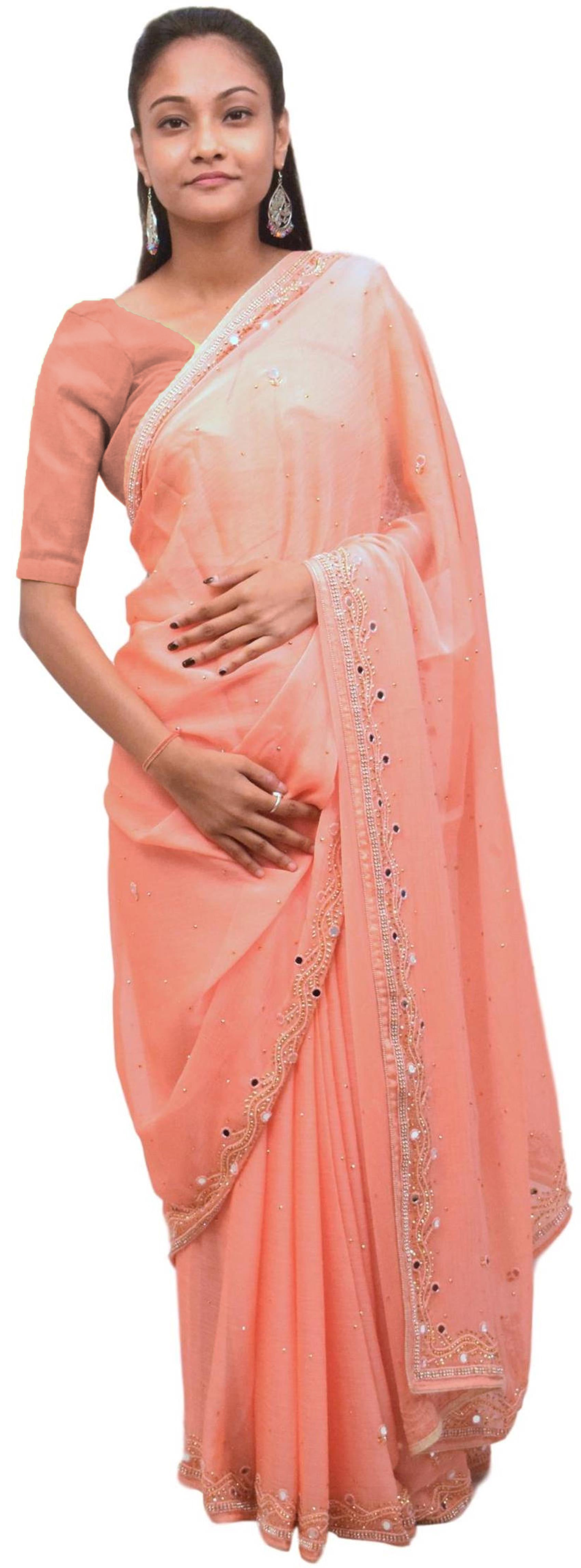 Peach Designer Wedding Partywear Georgette Mirror Beads Stone Hand Embroidery Work Bridal Saree Sari E414