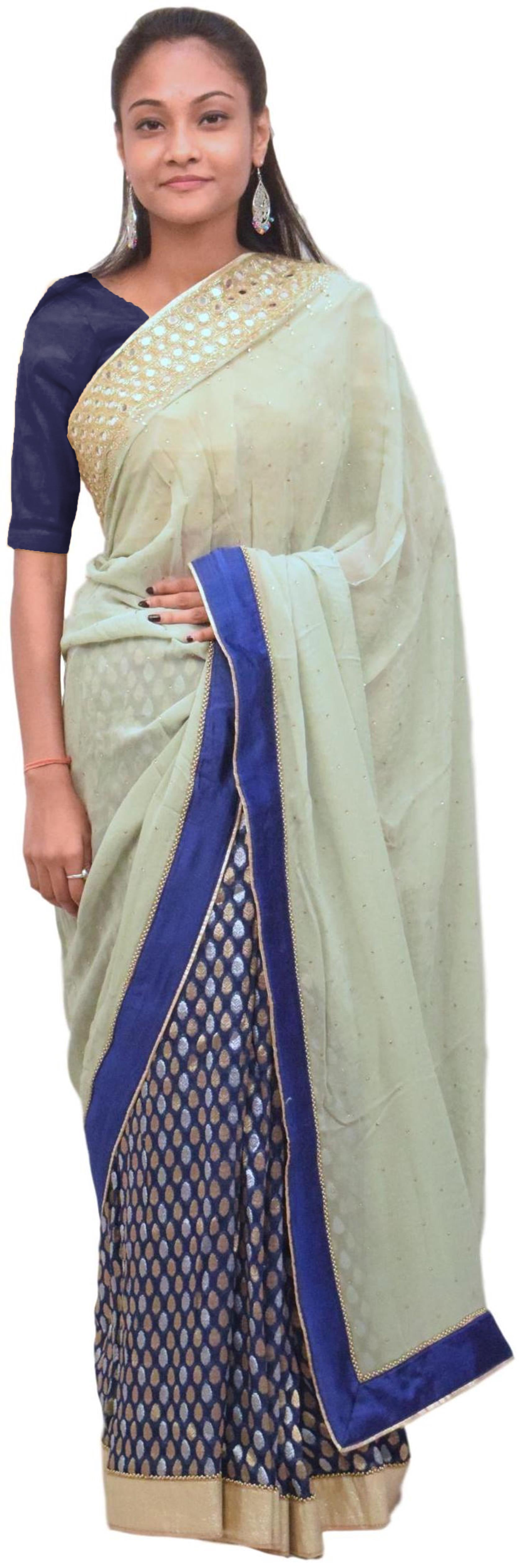 Grey & Blue Designer Wedding Partywear Georgette (Viscos) Hand Embroidery Zari Mirror Cutdana Stone Work Kolkata Saree Sari E415