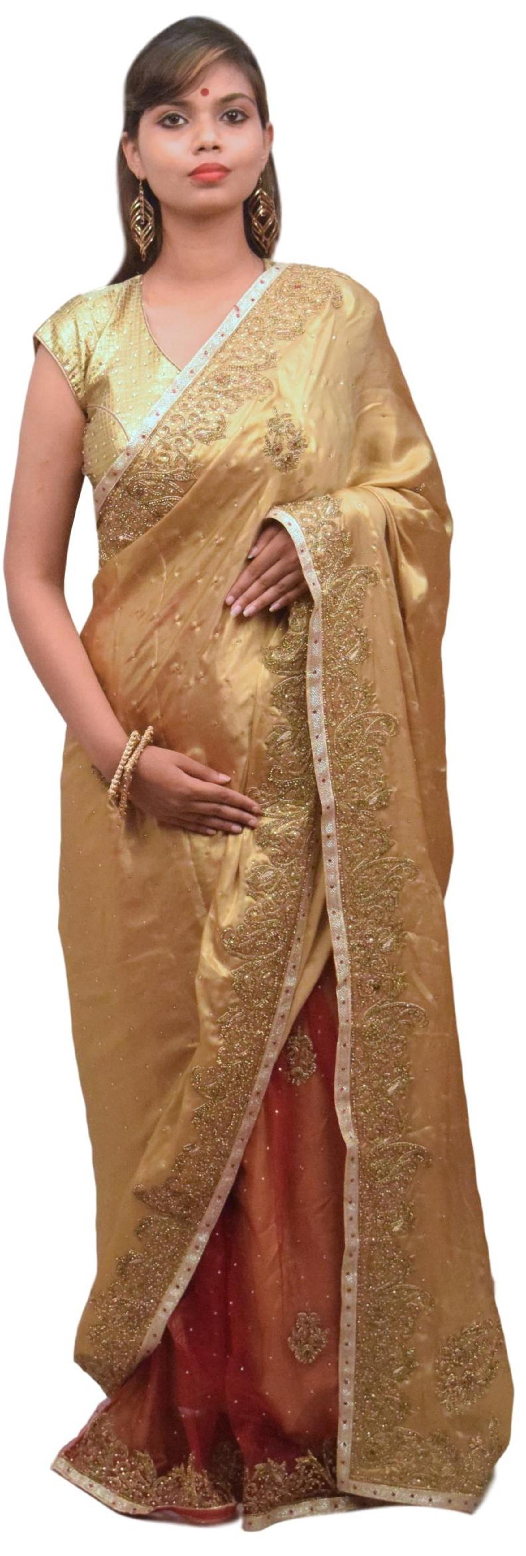 Golden & Red Designer Wedding Partywear Georgette & Net Hand Embroidery Stone Bullion Zari Work Kolkata Saree Sari E424