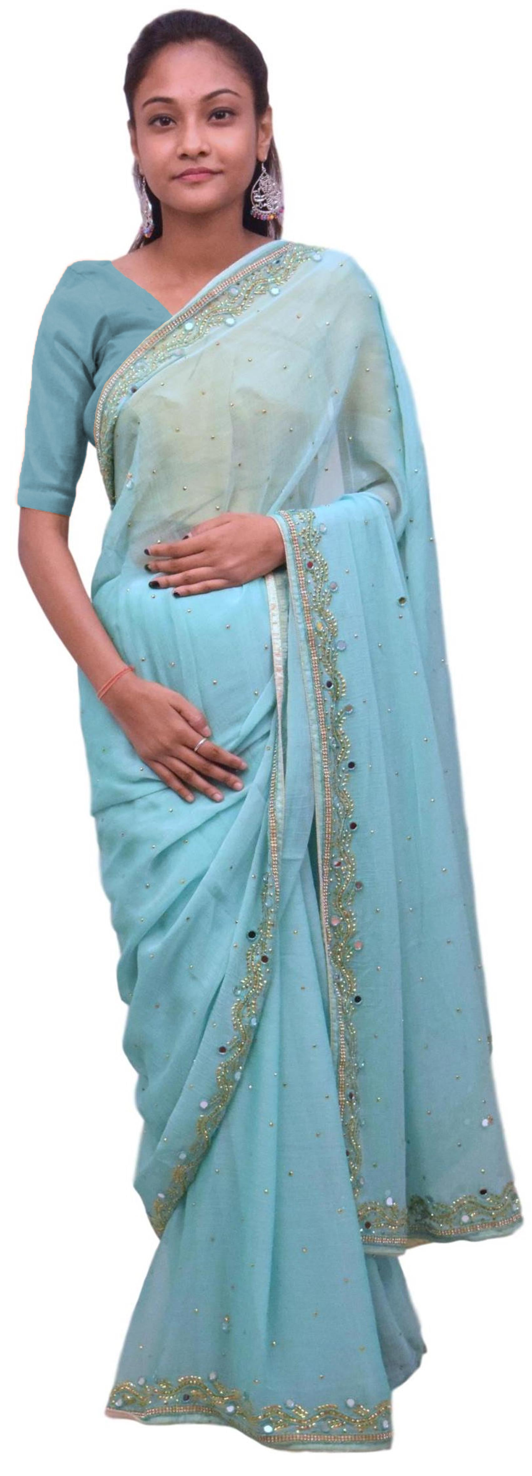 Blue Designer Wedding Partywear Georgette Mirror Beads Stone Hand Embroidery Work Bridal Saree Sari E425