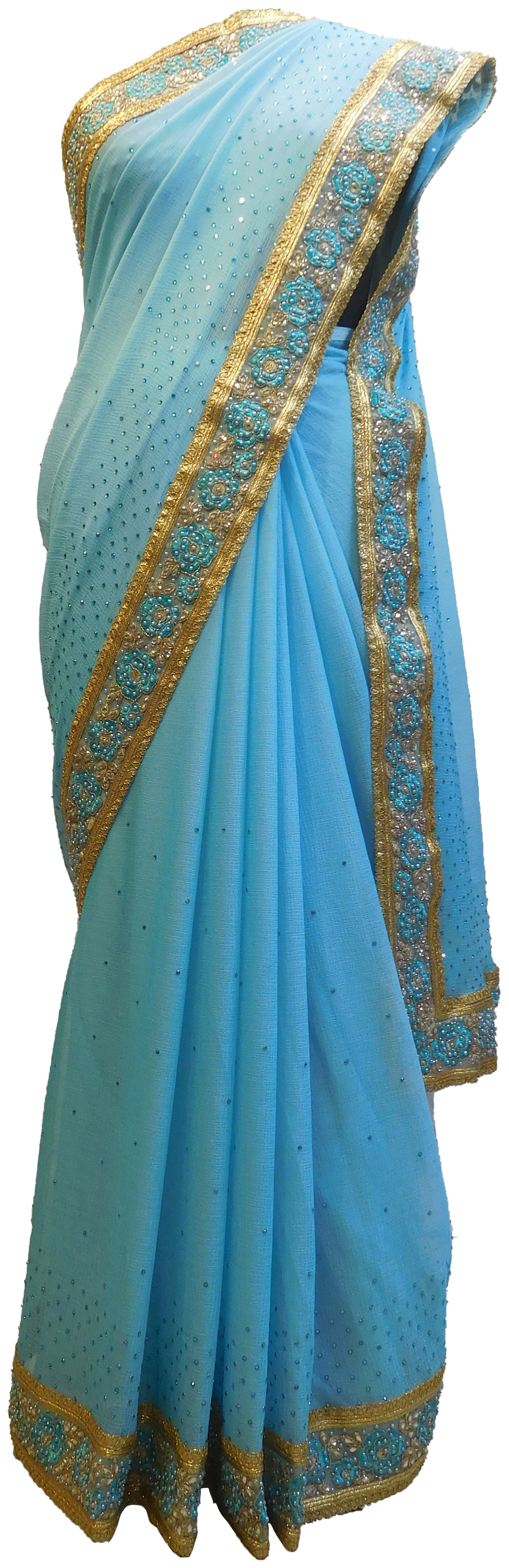 Blue Designer Wedding Partywear Georgette Hand Embroidery Thread Stone Zari Work Kolkata Saree Sari E434