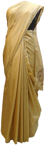 Beige Designer Wedding Partywear Silk Hand Embroidery Thread Pearl Zari Work Kolkata Saree Sari E436