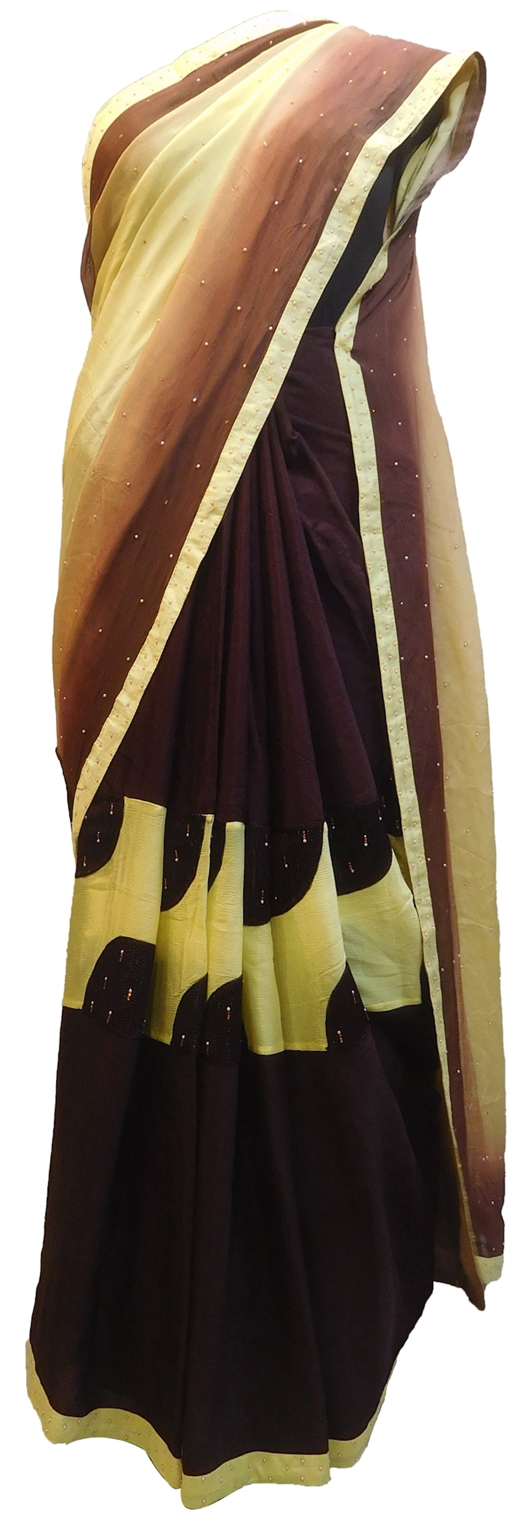 Coffee & Cream Designer Wedding Partywear Crepe (Chinon) Hand Embroidery Thread Pearl Stone Work Kolkata Saree Sari E439
