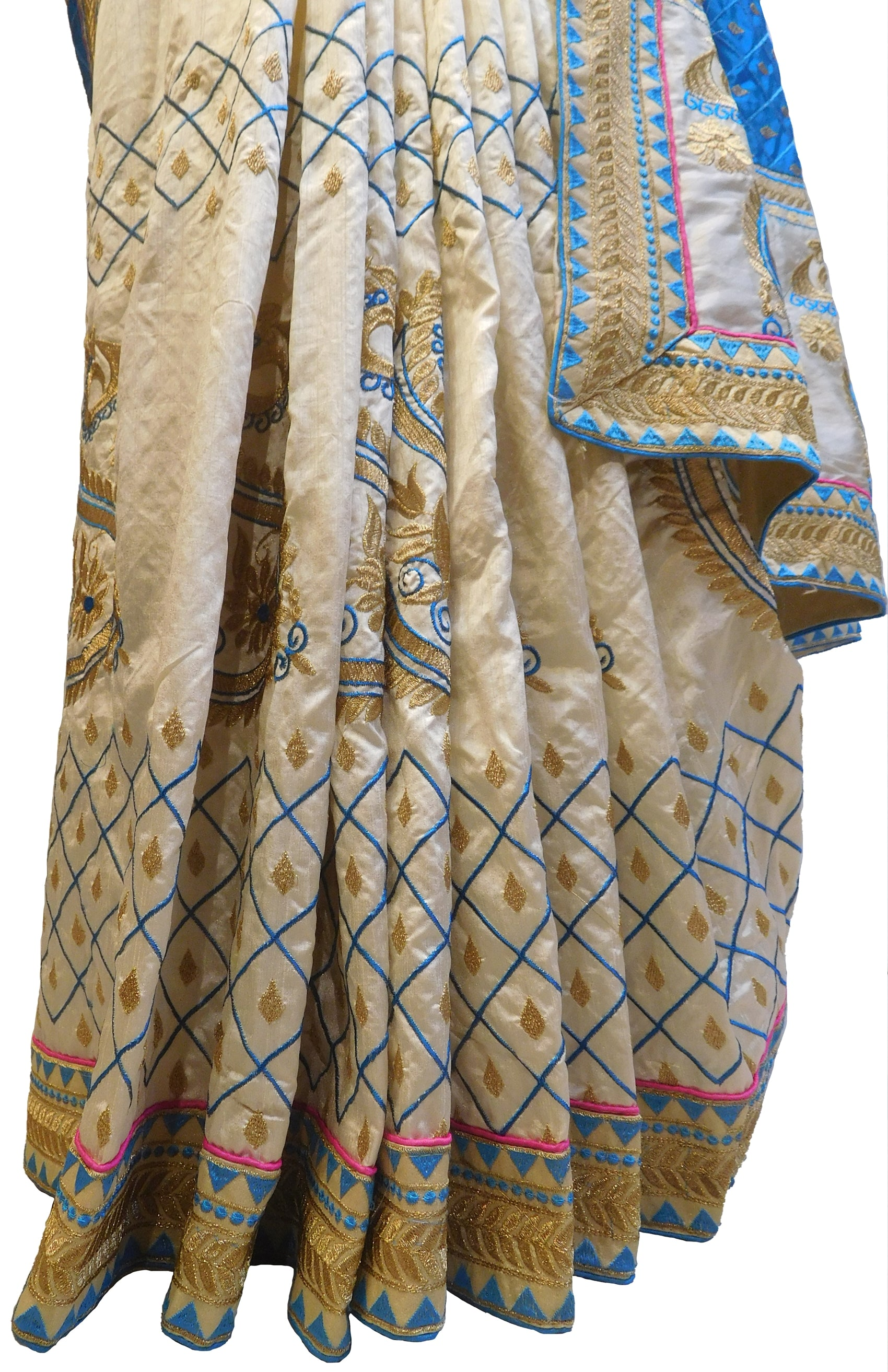 Blue & Cream Designer Wedding Partywear Silk Hand Embroidery Thread Zari Work Kolkata Saree Sari E445