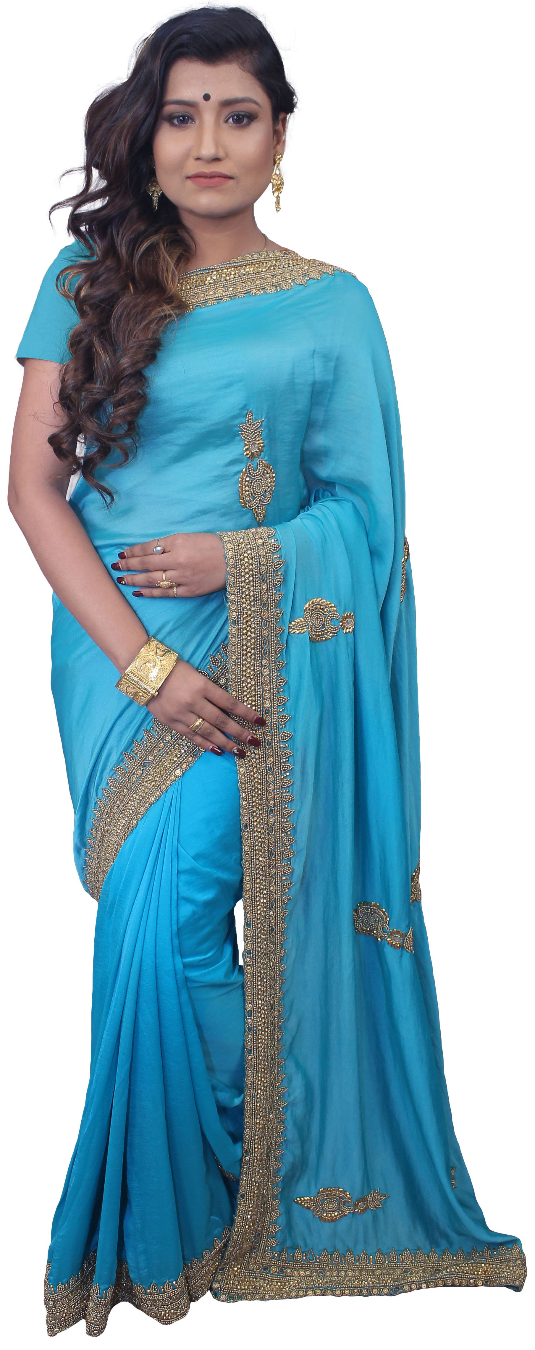 Blue Designer Wedding Partywear Silk Hand Embroidery Beads Stone Work Kolkata Saree Sari E454