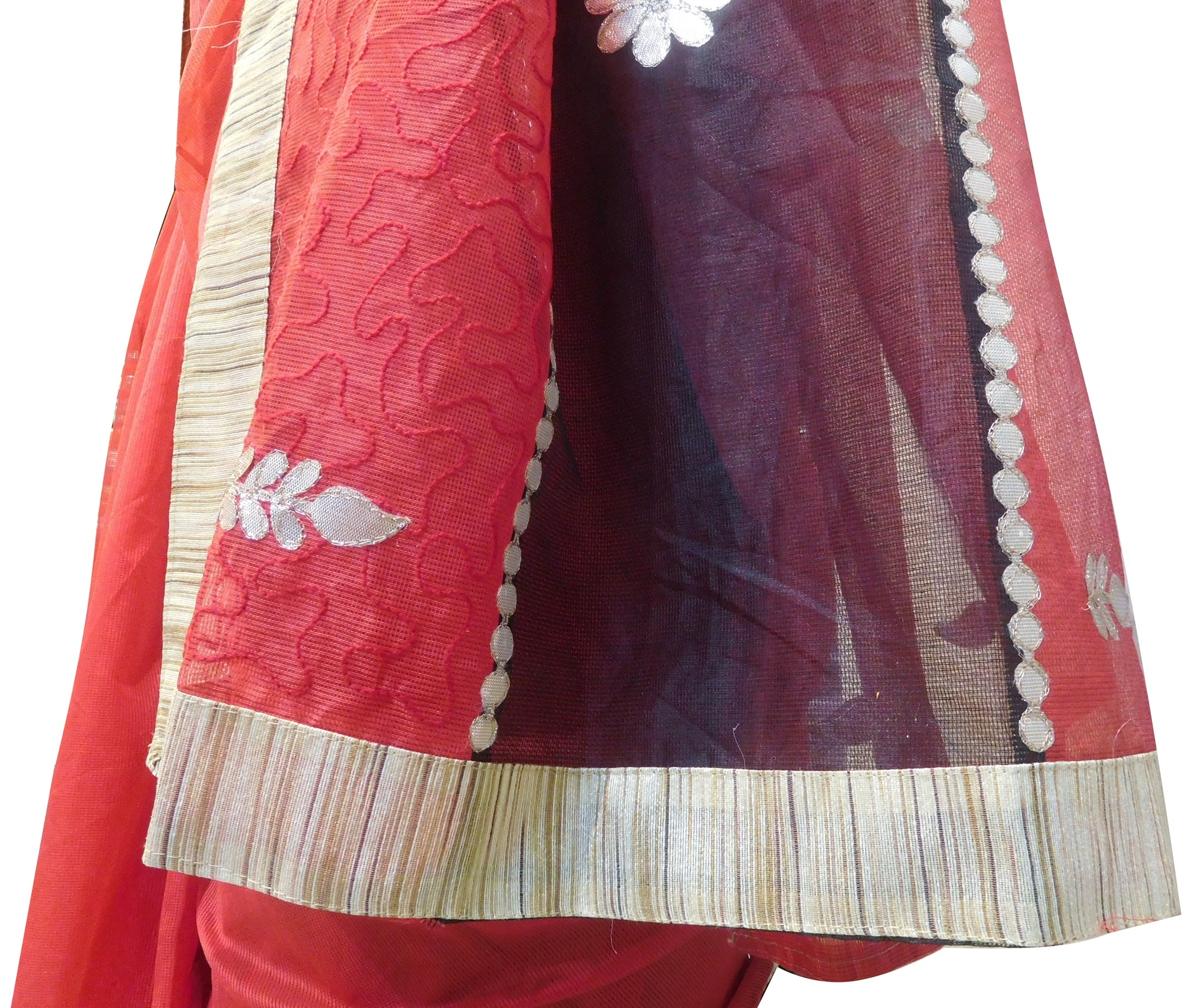 Red & Black Designer Wedding Partywear Supernet (Cotton) Hand Embroidery Zari Gota Work Kolkata Saree Sari E467