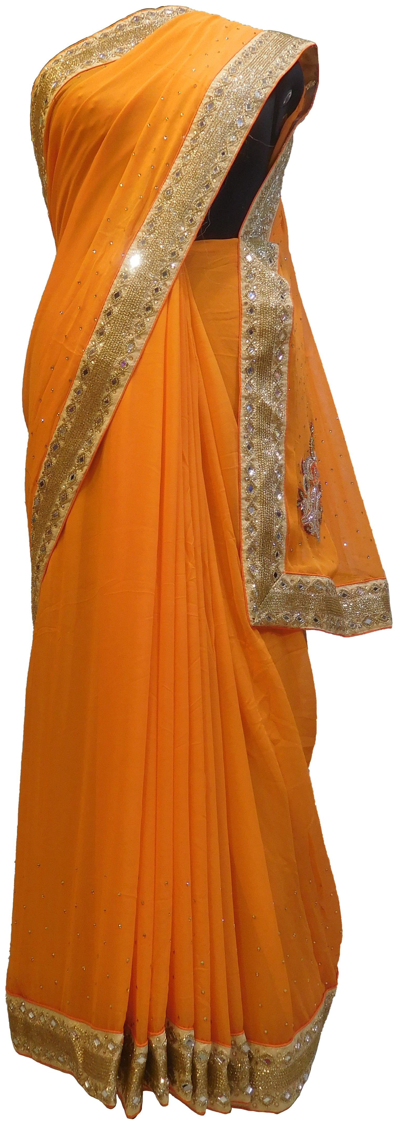 SMSAREE Orange Designer Wedding Partywear Georgette (Viscos) Stone Zari Cutdana Mirror & Thread Hand Embroidery Work Bridal Saree Sari With Blouse Piece E480