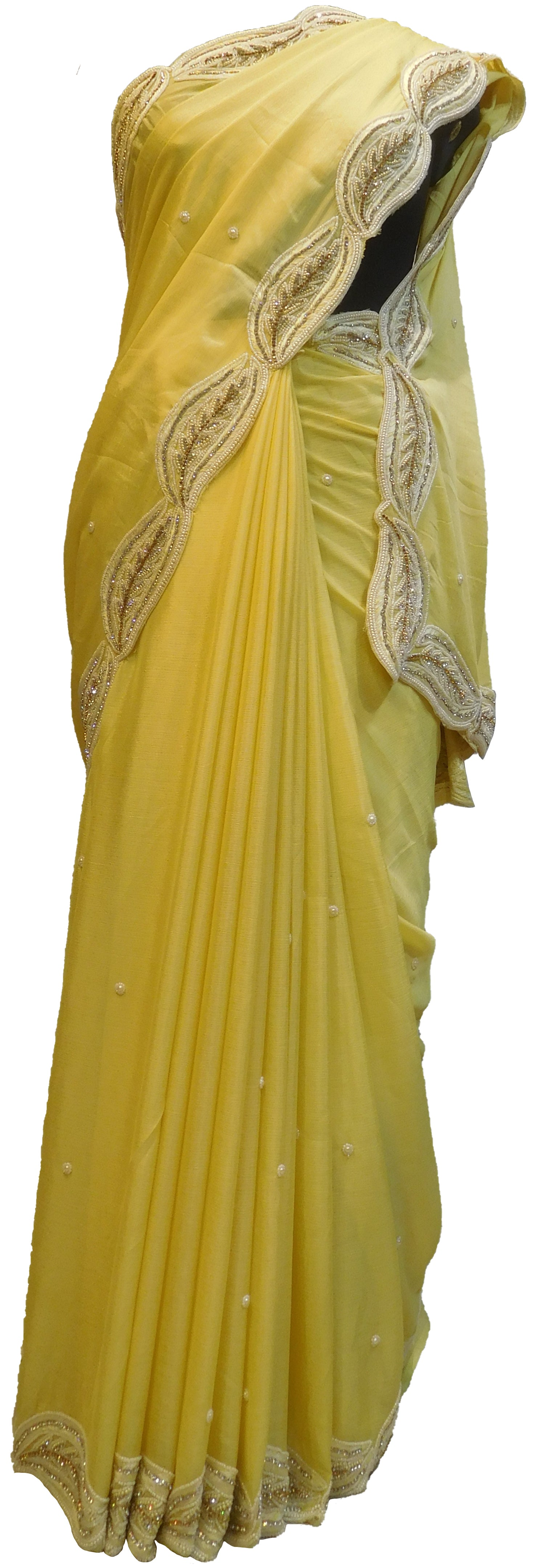 SMSAREE Yellow Designer Wedding Partywear Crepe (Chinon) Stone Thread Beads & Pearl Hand Embroidery Work Bridal Saree Sari With Blouse Piece E483