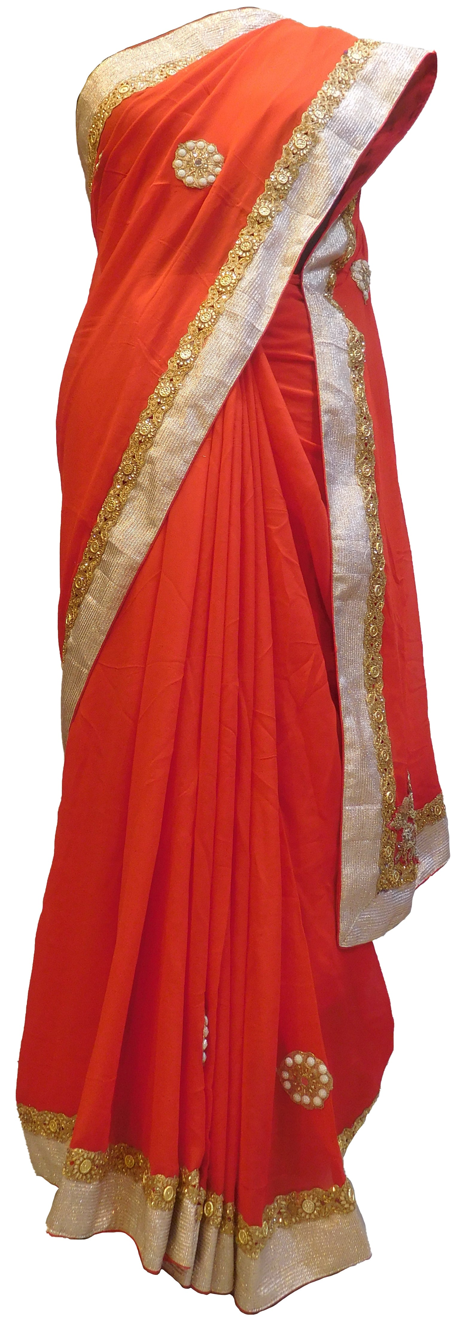 SMSAREE Red Designer Wedding Partywear Georgette (Viscos) Stone Zari Sequence & Bullion Hand Embroidery Work Bridal Saree Sari With Blouse Piece E485
