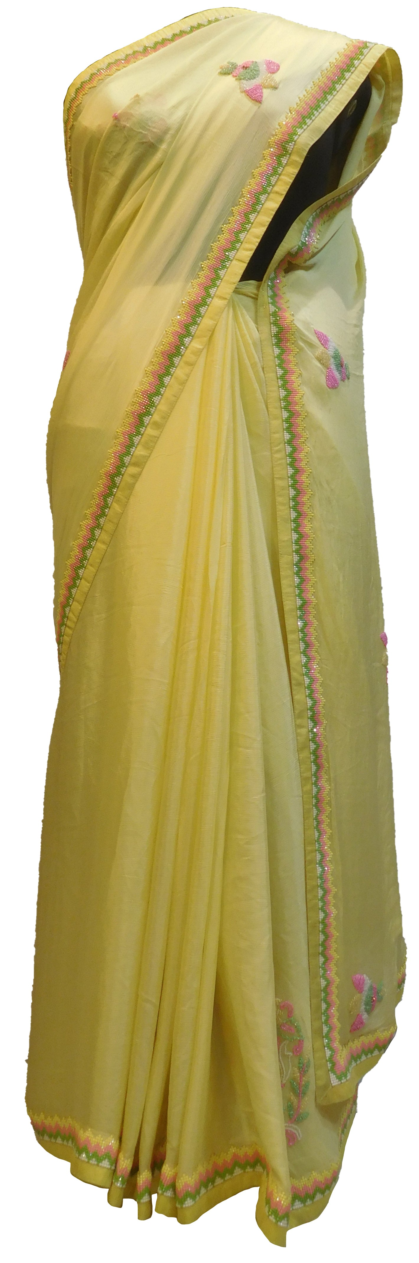 SMSAREE Yellow Designer Wedding Partywear Crepe (Chinon) Stone Sequence & Beads Hand Embroidery Work Bridal Saree Sari With Blouse Piece E488