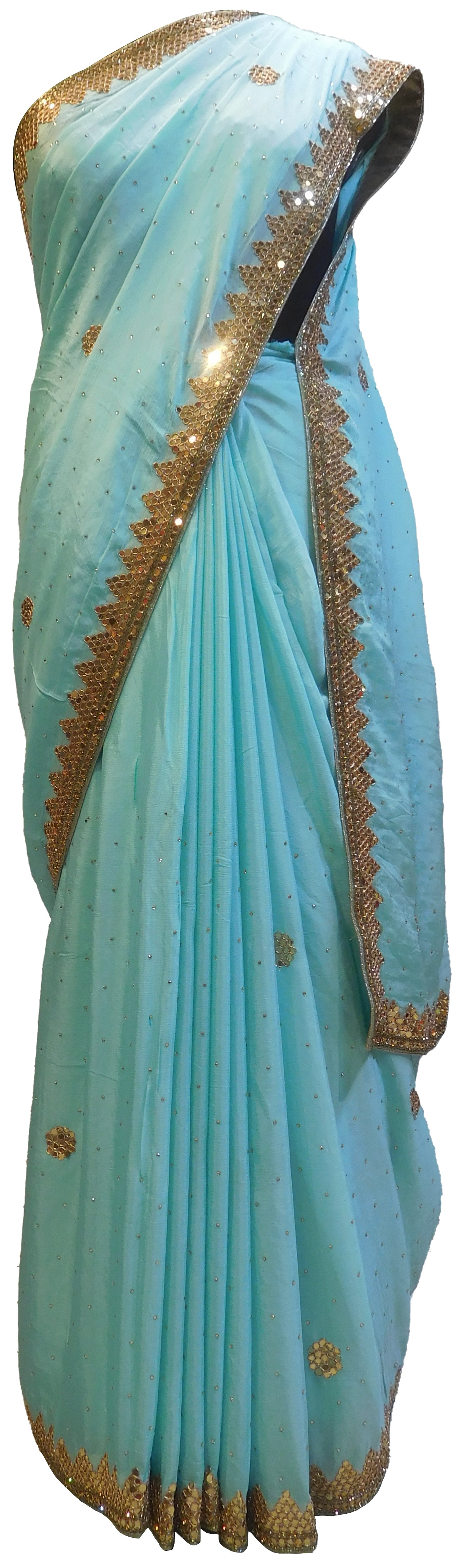 SMSAREE Blue Designer Wedding Partywear Crepe (Chinon) Stone Cutdana Mirror & Bullion Hand Embroidery Work Bridal Saree Sari With Blouse Piece E492