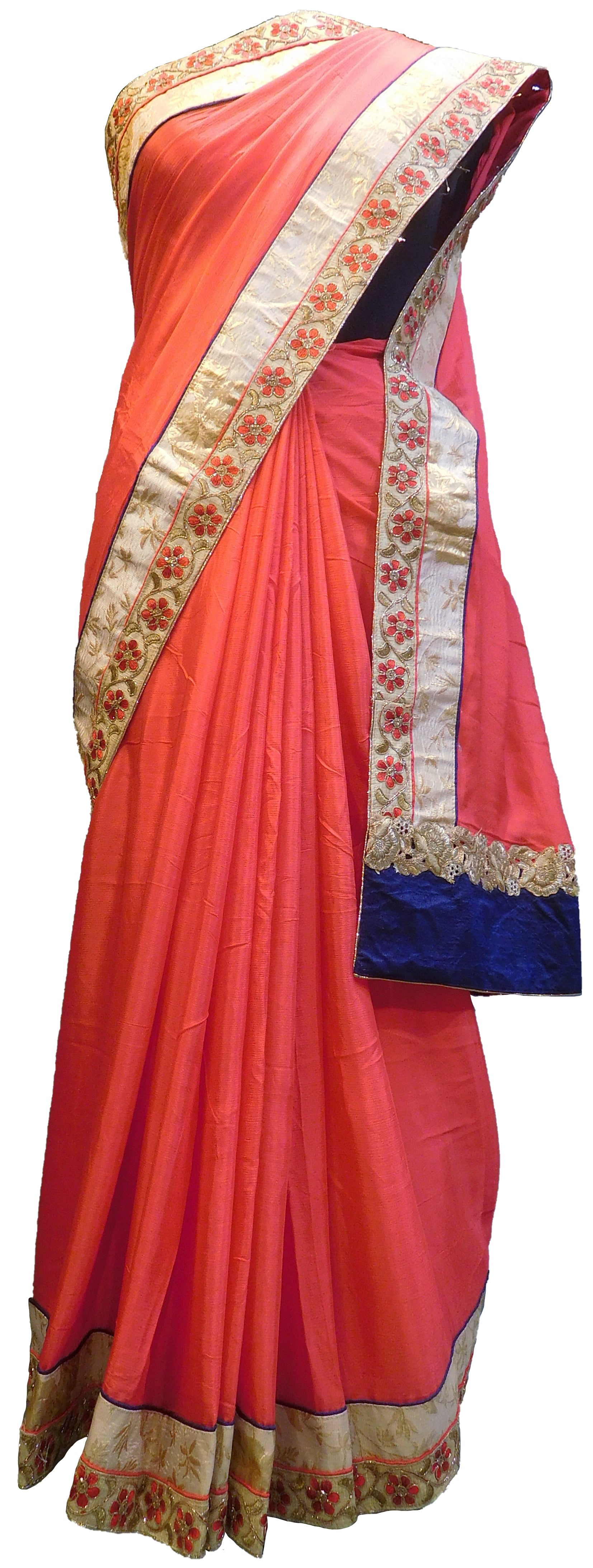 SMSAREE Red Designer Wedding Partywear Crepe (Chinon) Thread & Zari Hand Embroidery Work Bridal Saree Sari With Blouse Piece E496