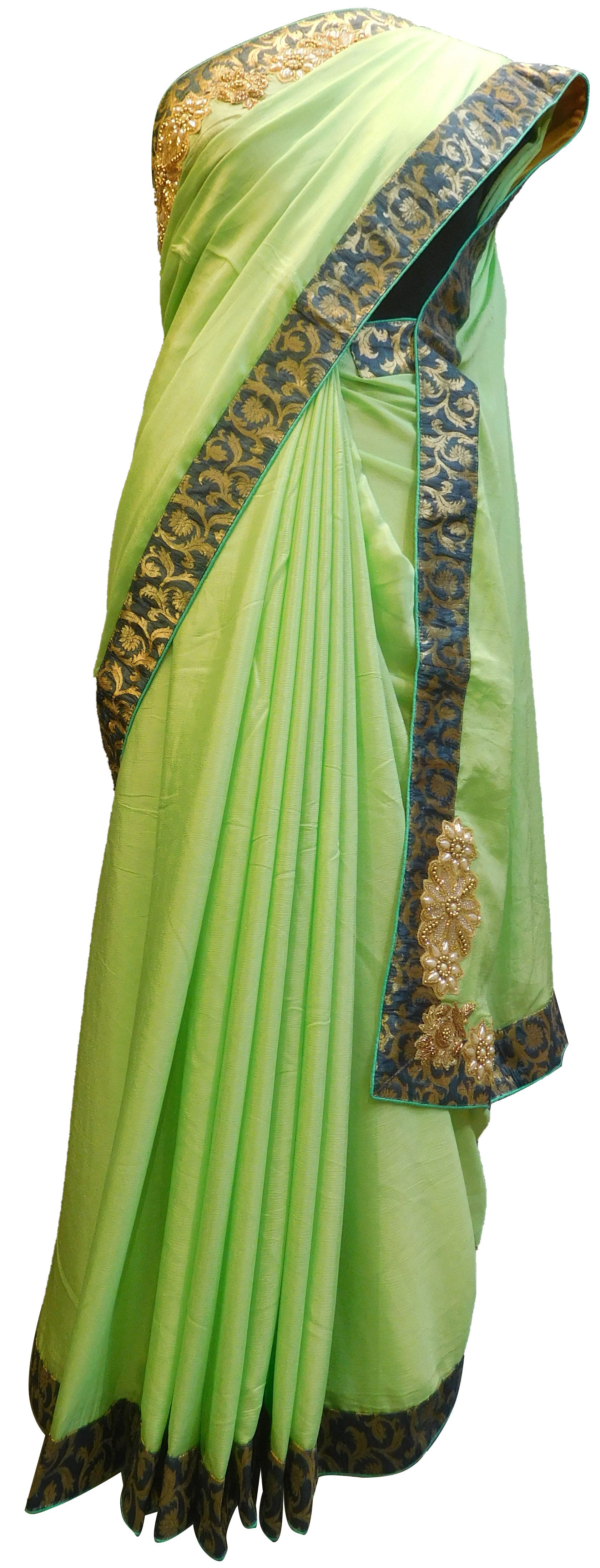 SMSAREE Green Designer Wedding Partywear Crepe (Chinon) Zari Thread Beads Cutdana Sequence & Bullion Hand Embroidery Work Bridal Saree Sari With Blouse Piece E497