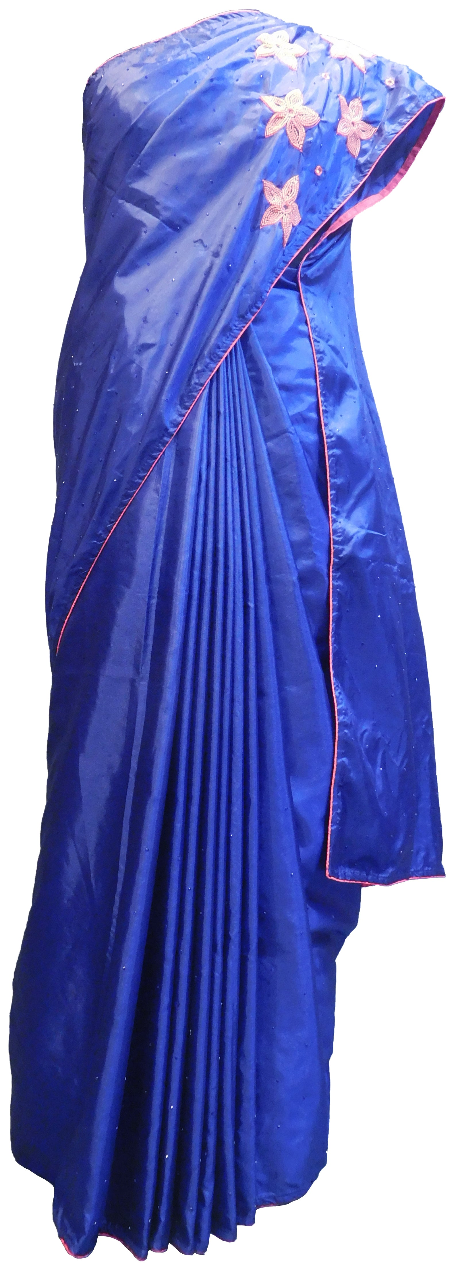 SMSAREE Blue Designer Wedding Partywear Silk Stone Mirror Beads & Thread Hand Embroidery Work Bridal Saree Sari With Blouse Piece E499