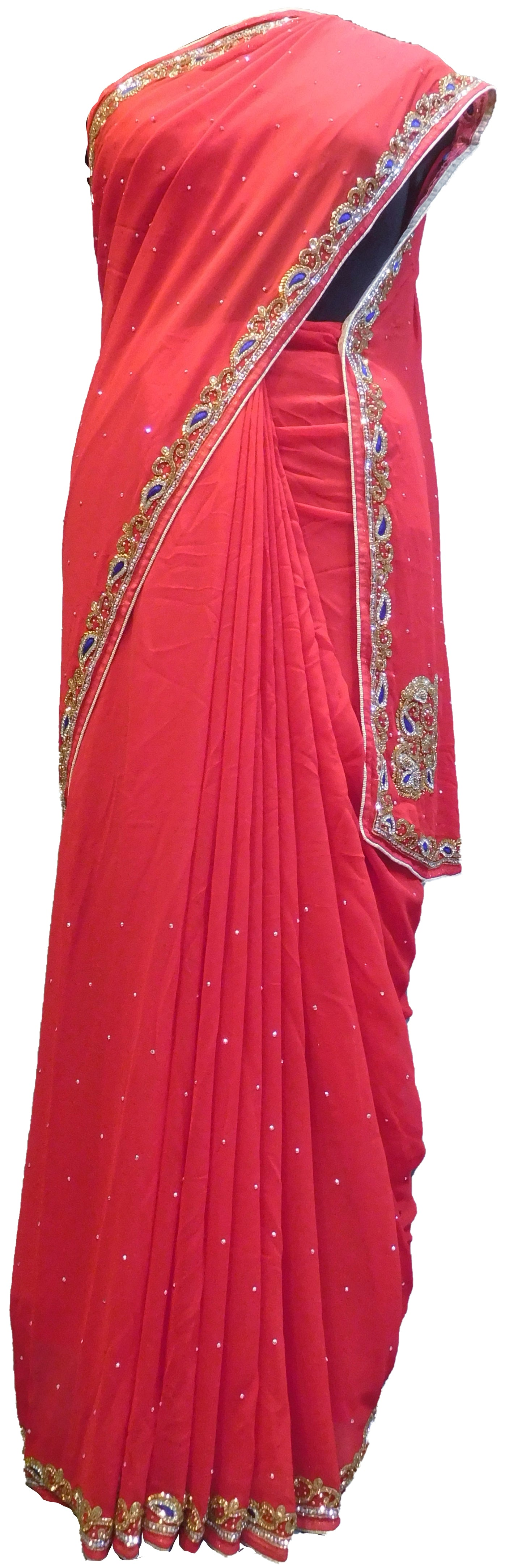 SMSAREE Red Designer Wedding Partywear Georgette Stone Cutdana Beads & Thread Hand Embroidery Work Bridal Saree Sari With Blouse Piece E501