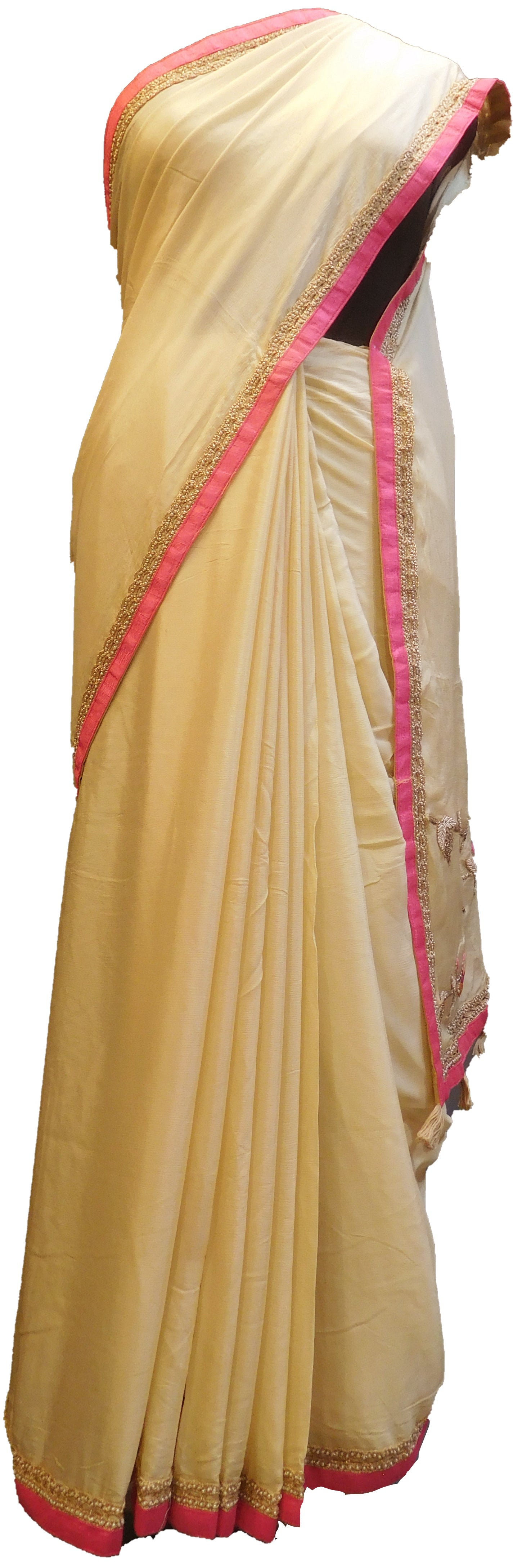SMSAREE Cream Designer Wedding Partywear Crepe (Chinon) Thread Pearl Sequence & Bullion Hand Embroidery Work Bridal Saree Sari With Blouse Piece E502