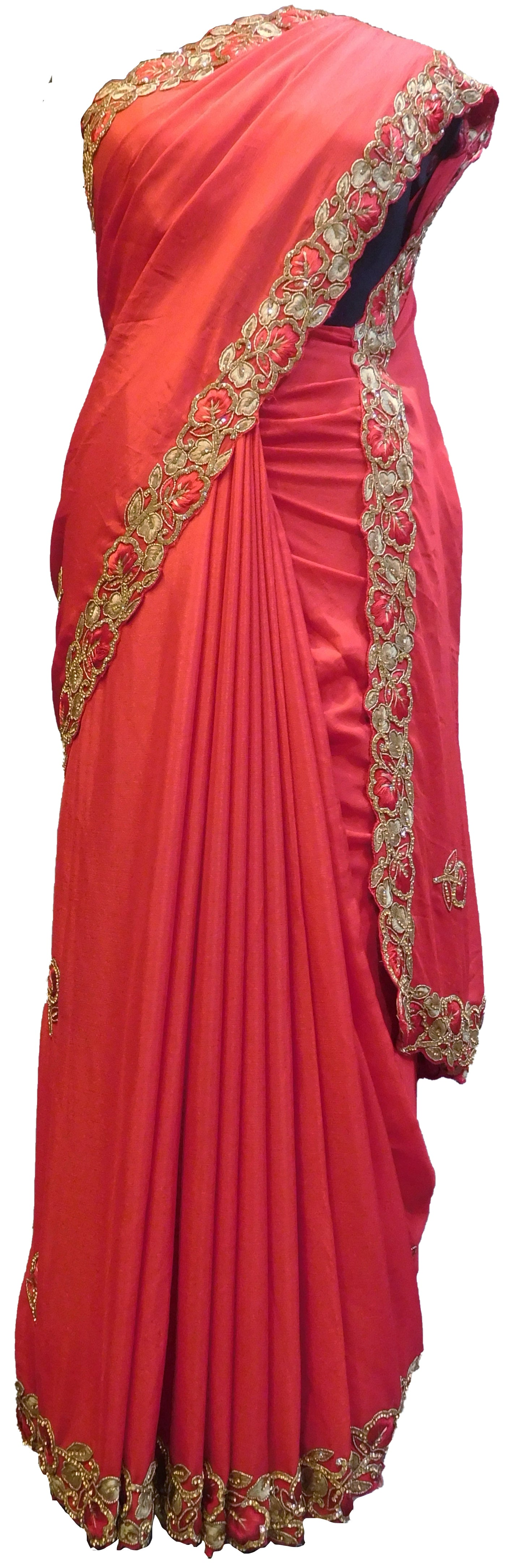 SMSAREE Red Designer Wedding Partywear Crepe (Chinon) Stone Beads & Thread Hand Embroidery Work Bridal Saree Sari With Blouse Piece E503