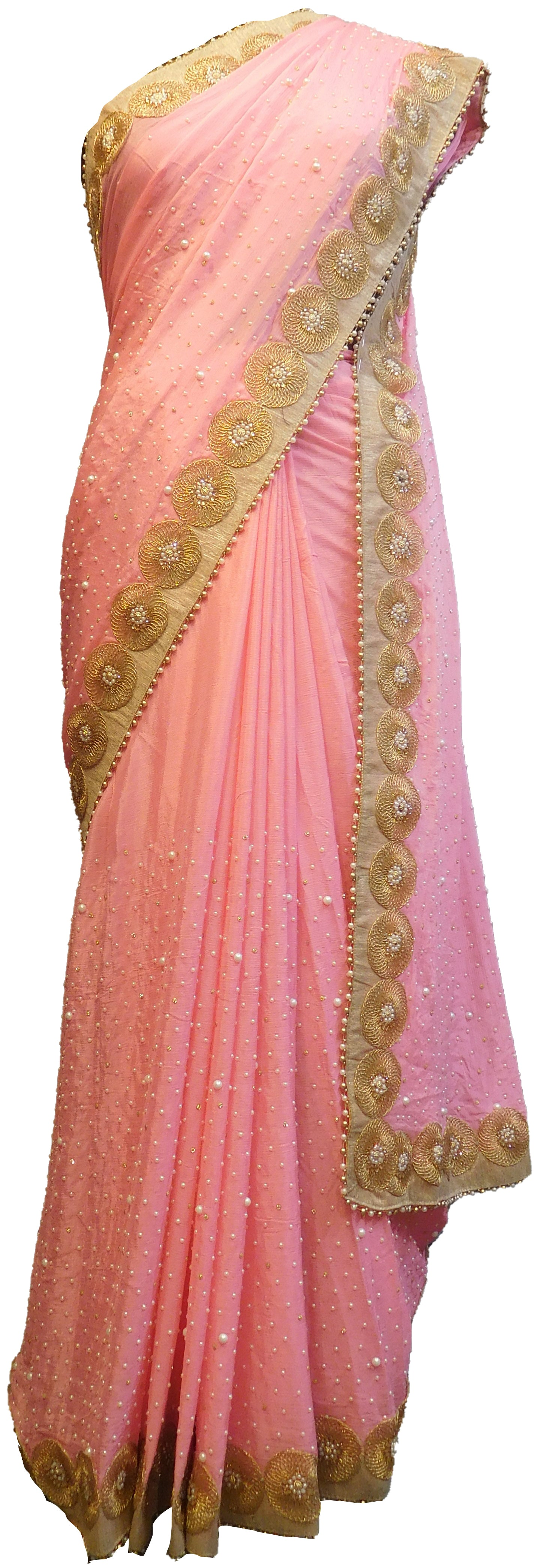 SMSAREE Pink Designer Wedding Partywear Crepe (Chinon) Stone Zari & Pearl Hand Embroidery Work Bridal Saree Sari With Blouse Piece E509