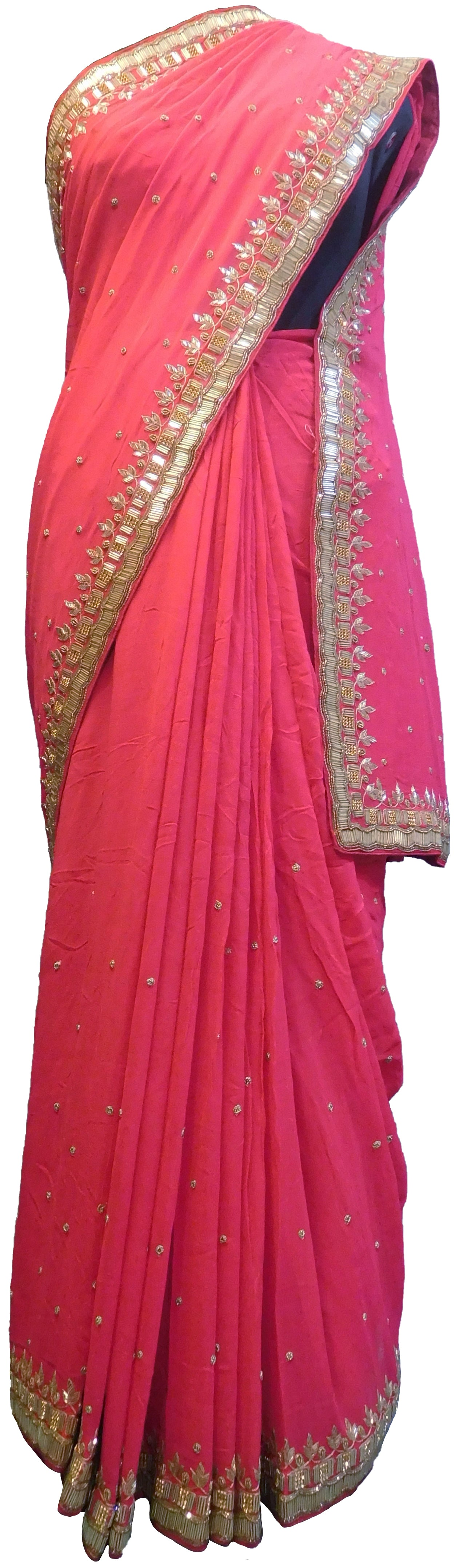 SMSAREE Pink Designer Wedding Partywear Georgette (Viscos) Cutdana Stone Beads & Thread Hand Embroidery Work Bridal Saree Sari With Blouse Piece E512