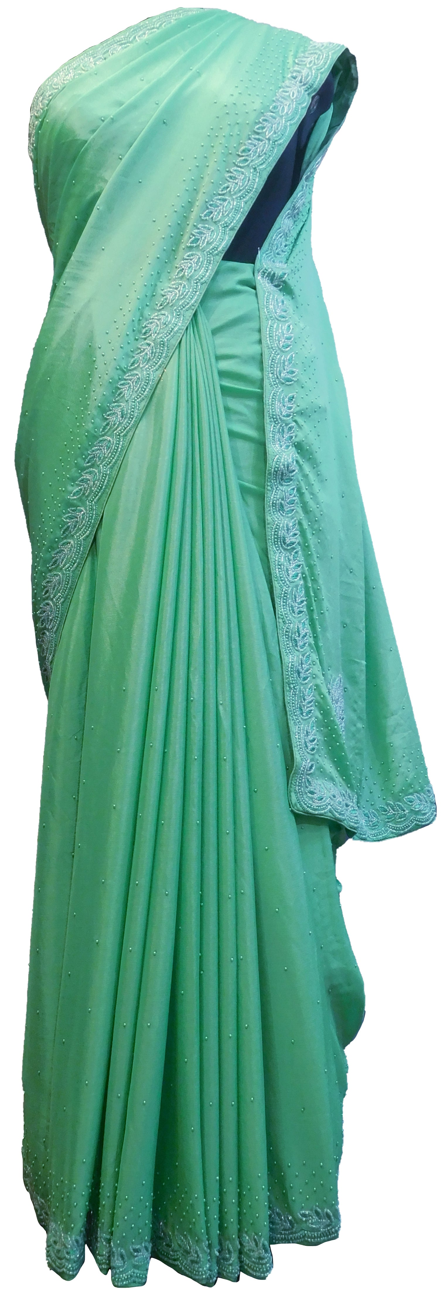 SMSAREE Green Designer Wedding Partywear Crepe (Chinon) Thread Beads & Pearl Hand Embroidery Work Bridal Saree Sari With Blouse Piece E513