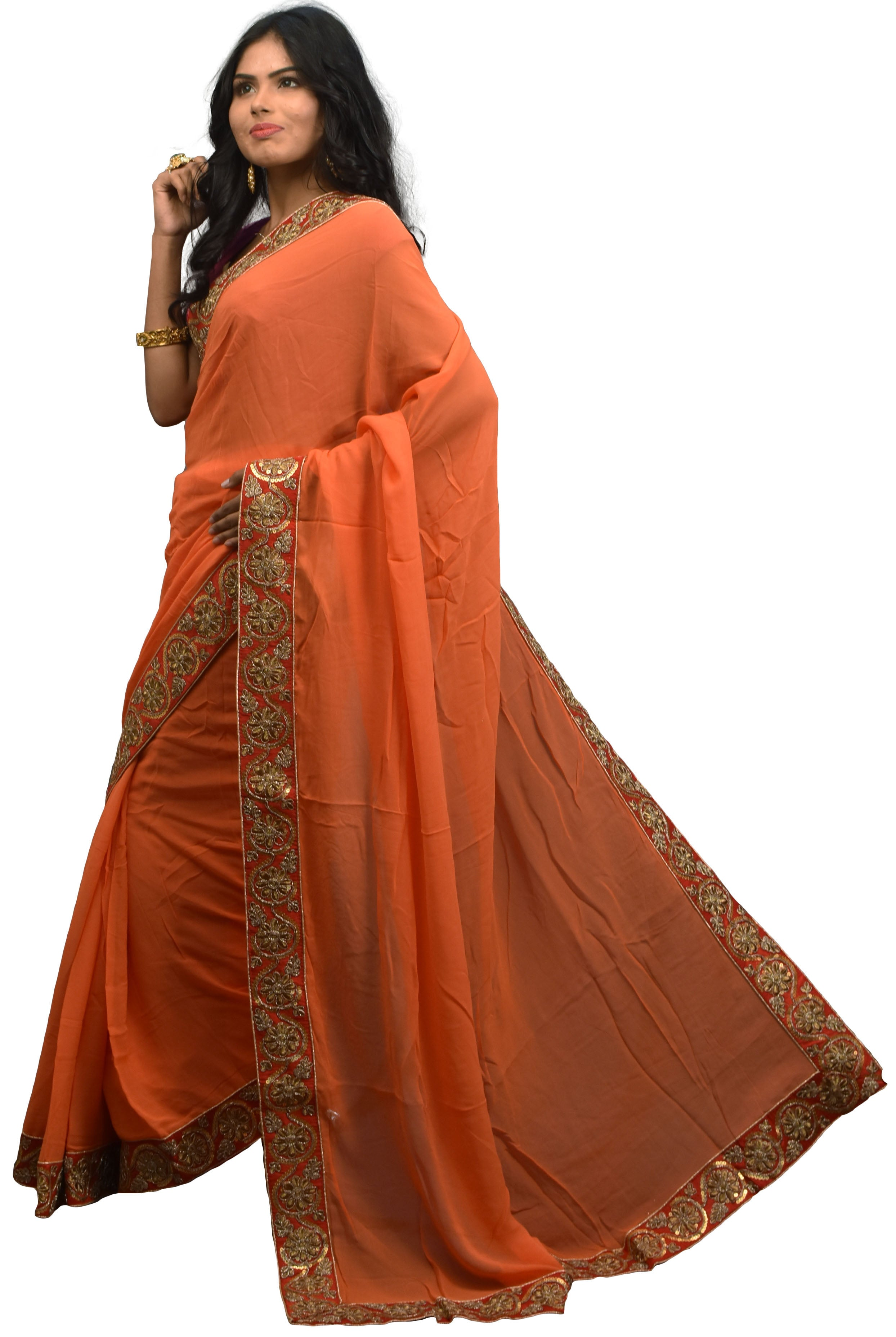 SMSAREE Orange Designer Wedding Partywear Crepe (Chinon) Sequence & Zari Hand Embroidery Work Bridal Saree Sari With Blouse Piece E515