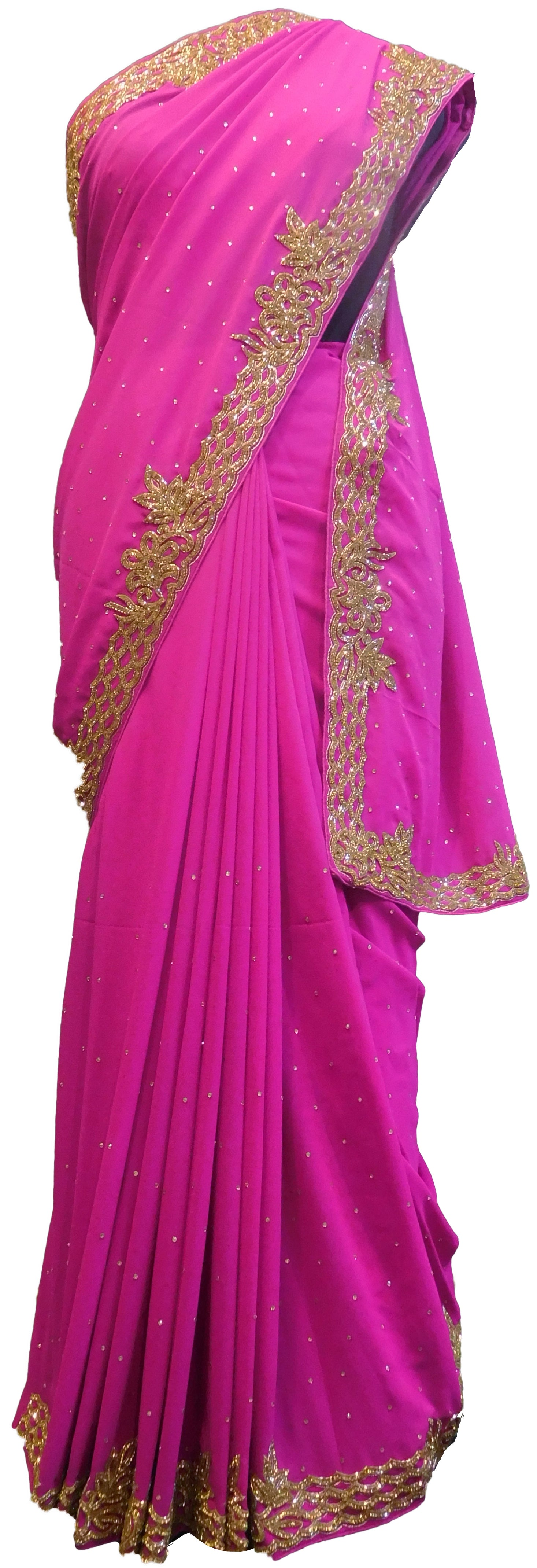 SMSAREE Pink Designer Wedding Partywear Georgette Cutdana & Stone  Hand Embroidery Work Bridal Saree Sari With Blouse Piece E524