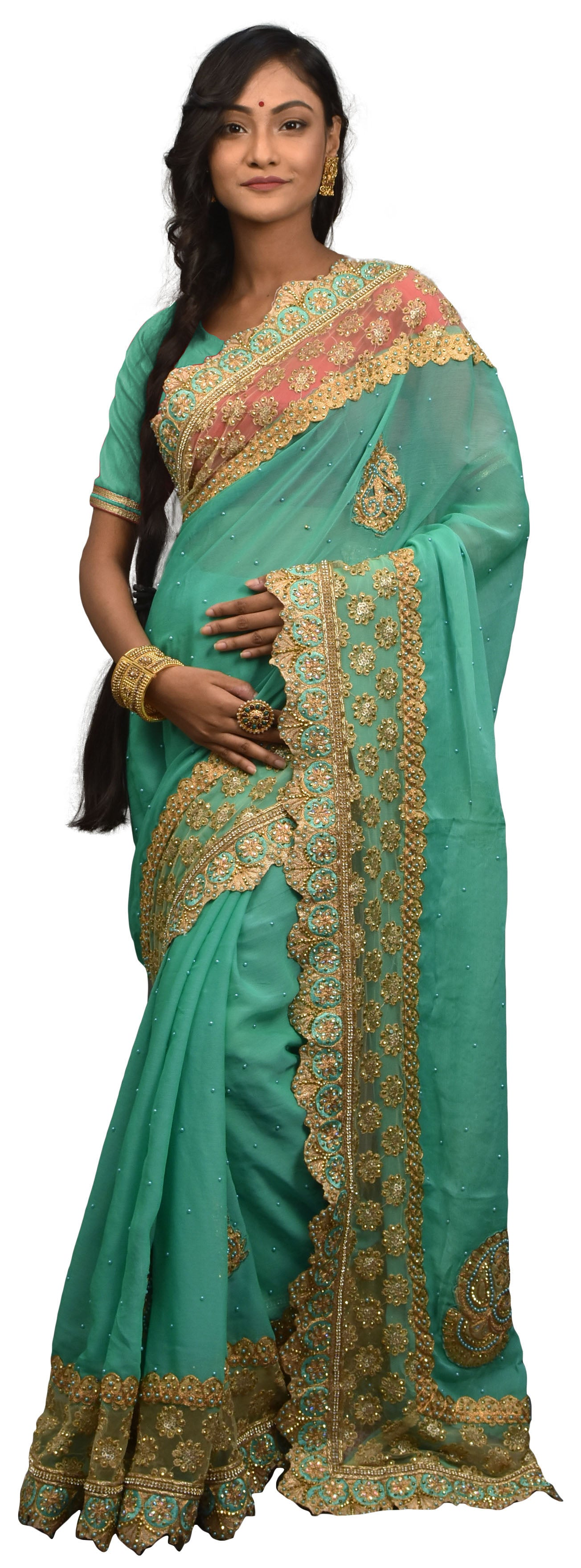 SMSAREE Turquoise Designer Wedding Partywear Georgette Stone Thread Sequence & Pearl Hand Embroidery Work Bridal Saree Sari With Blouse Piece E529