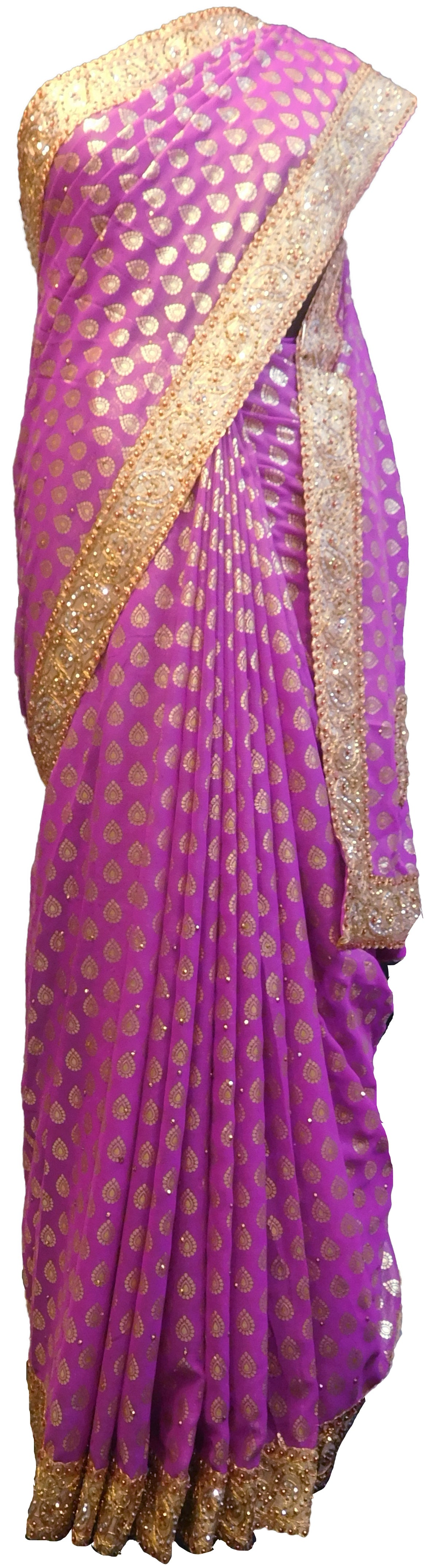 SMSAREE Violet Designer Wedding Partywear Georgette Stone & Zari Hand Embroidery Work Bridal Saree Sari With Blouse Piece E536