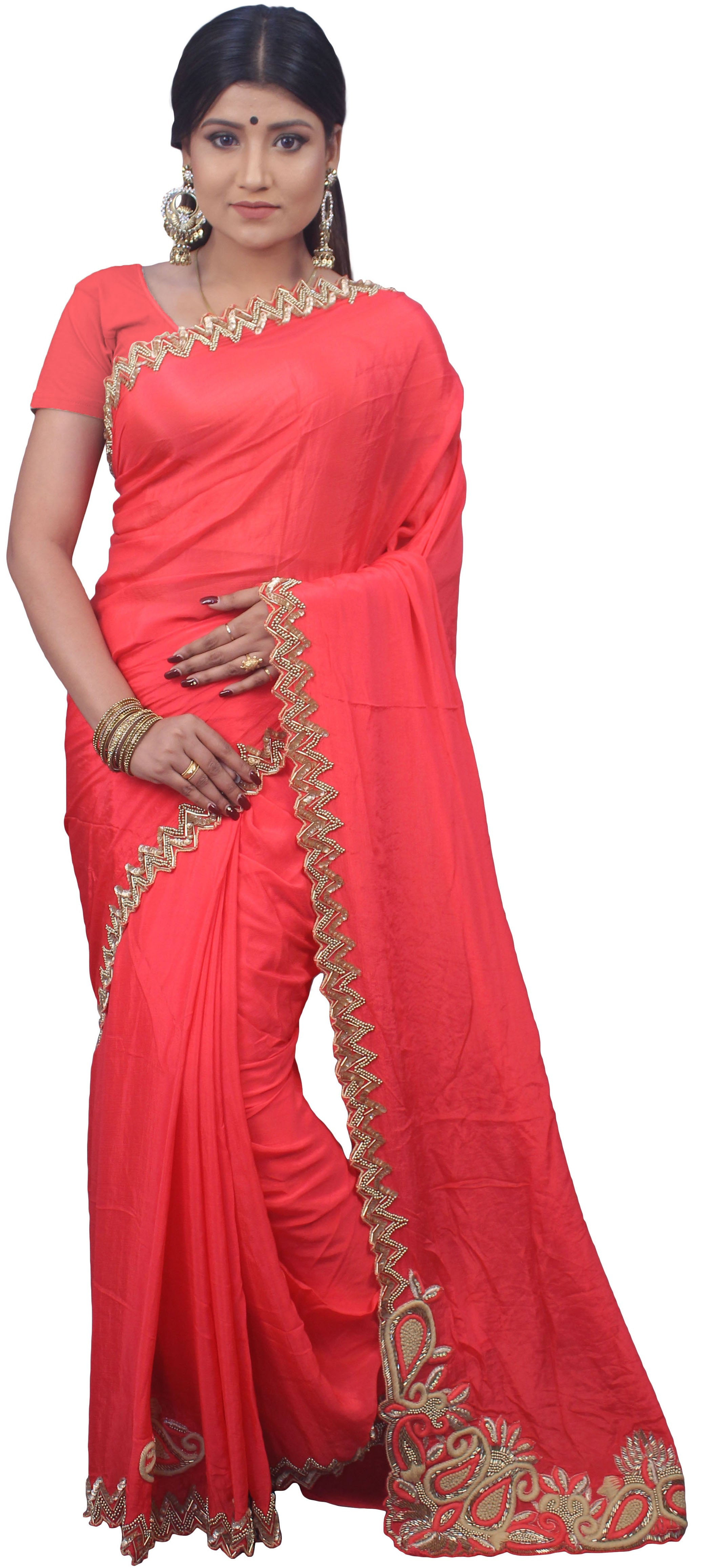 SMSAREE Pink Designer Wedding Partywear Crepe (Chinon) Cutdana Thread Sequence & Beads Hand Embroidery Work Bridal Saree Sari With Blouse Piece E550