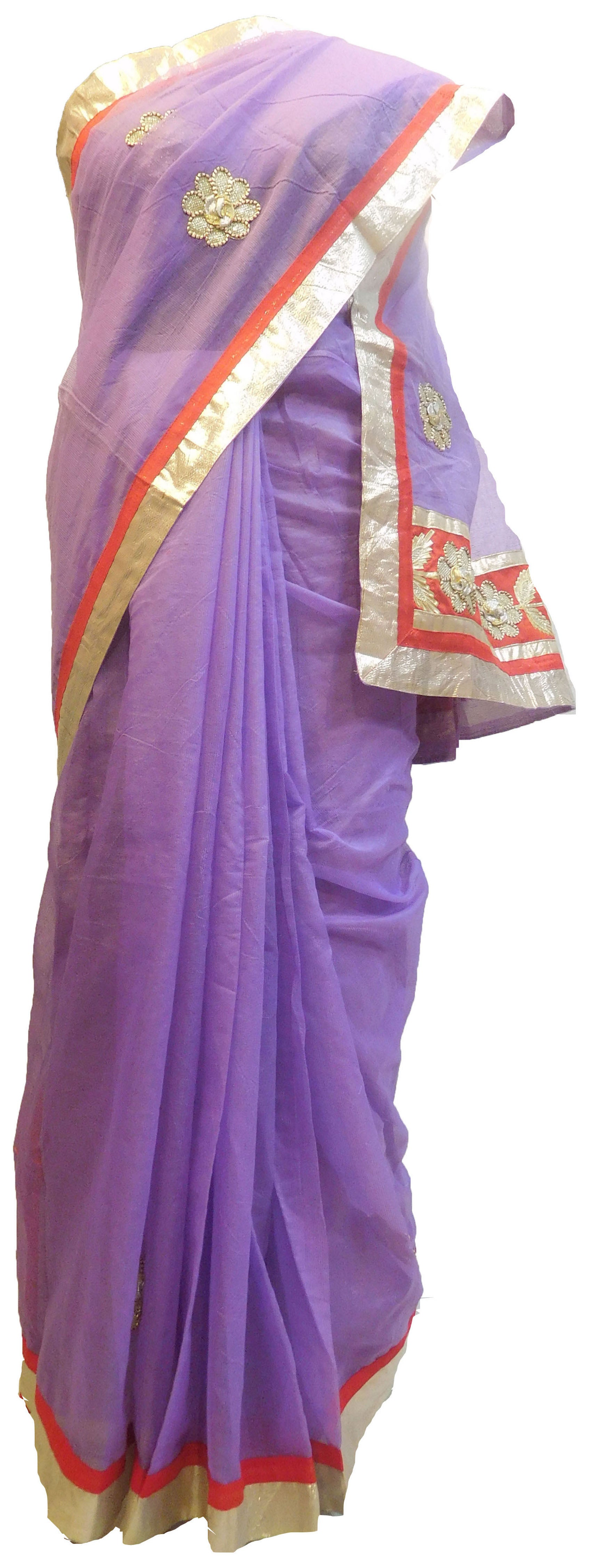 Violet Designer PartyWear Pure Supernet (Cotton) Gota Thread Work Saree Sari With Grey Border E556