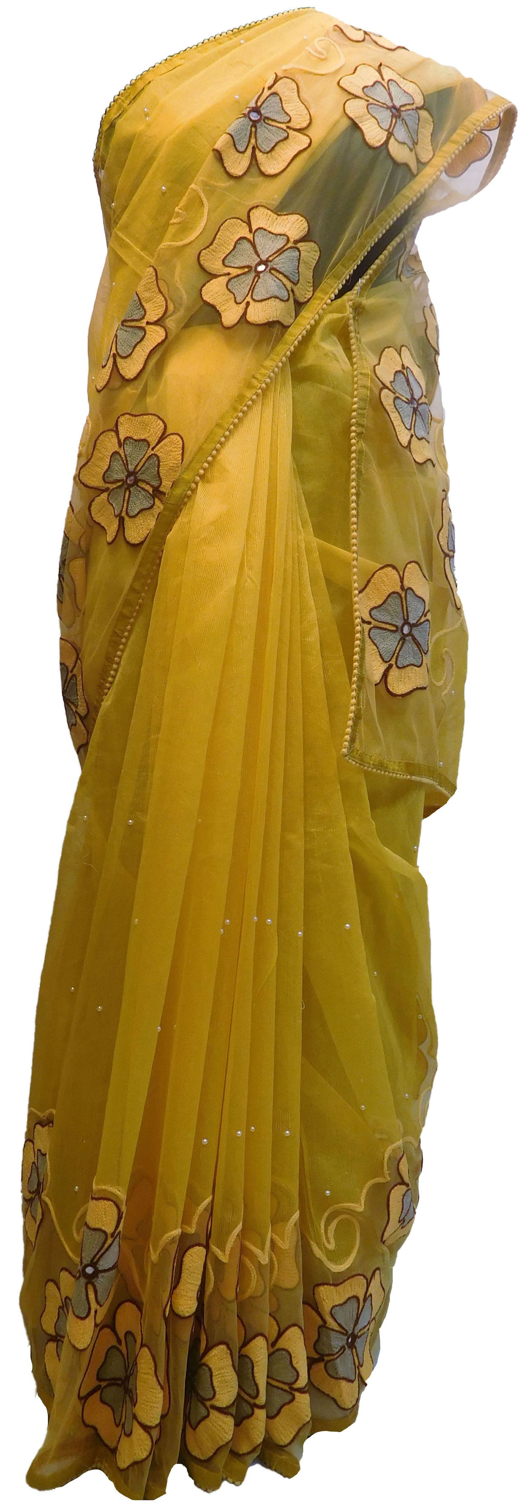 SMSAREE Yellow Designer Wedding Partywear Supernet (Cotton) Mirror Thread & Pearl Hand Embroidery Work Bridal Saree Sari With Blouse Piece E565