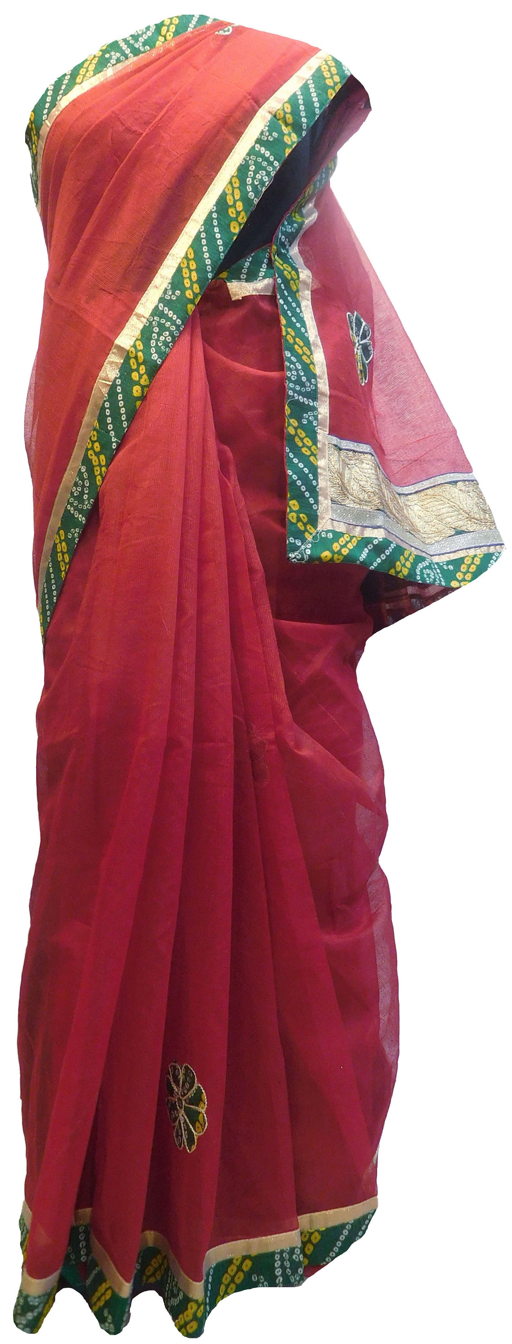 Red Designer PartyWear Pure Supernet (Cotton) Thread Gota Work Kolkata Saree Sari E568