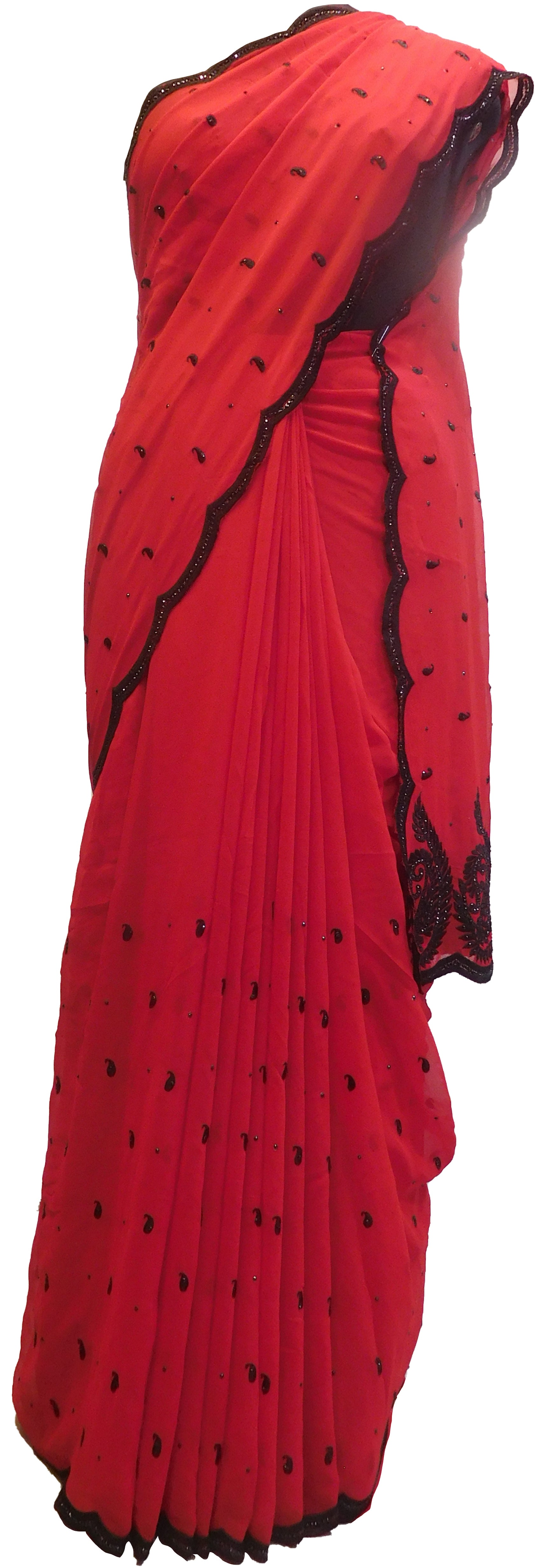 SMSAREE Red Designer Wedding Partywear Georgette Thread & Stone  Hand Embroidery Work Bridal Saree Sari With Blouse Piece E577