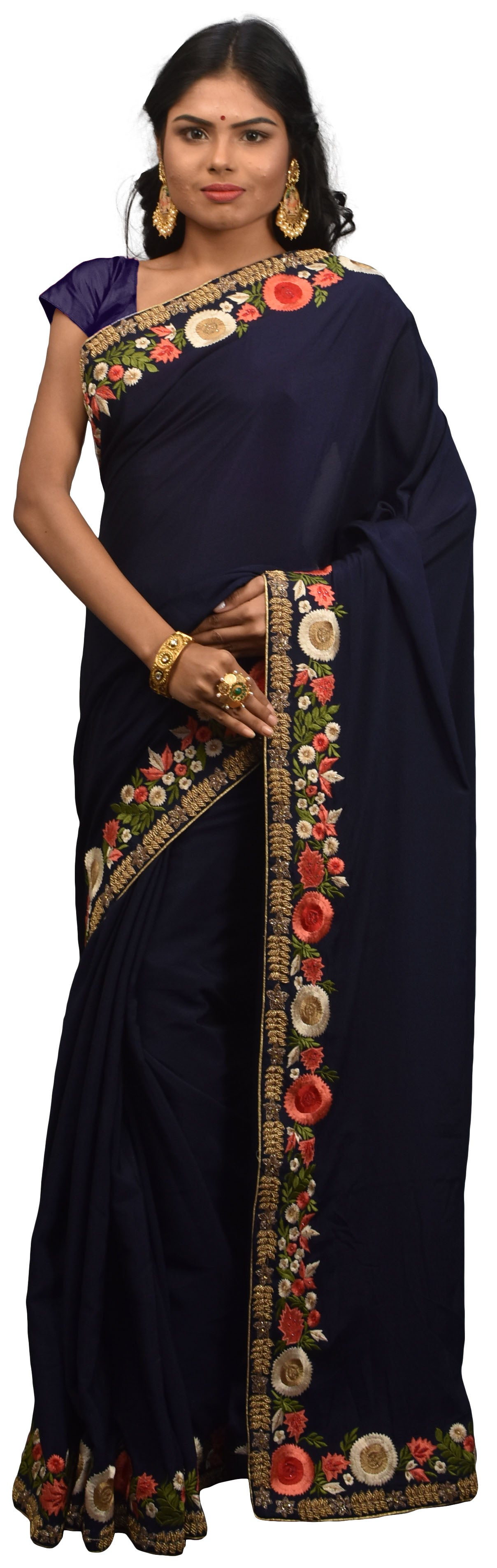 SMSAREE Navy Blue Designer Wedding Partywear Crepe (Chinon) Cutdana Stone Thread & Beads Hand Embroidery Work Bridal Saree Sari With Blouse Piece E591