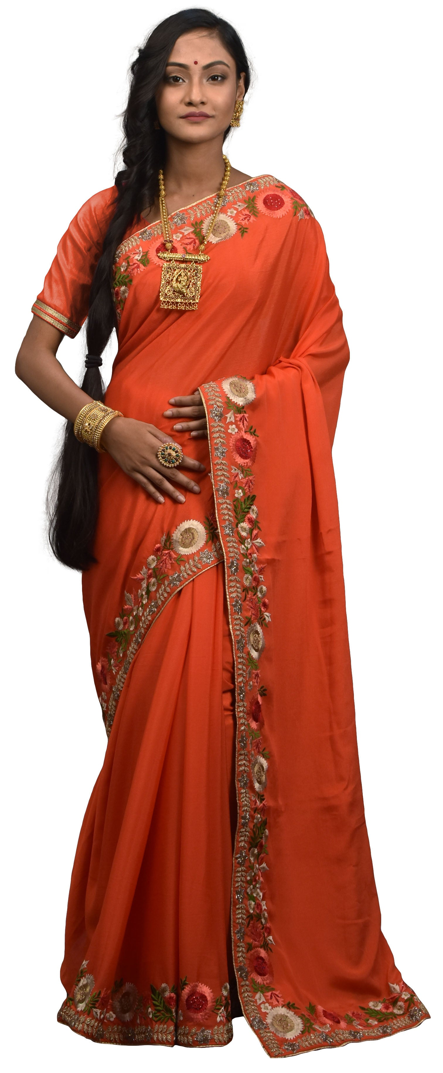 SMSAREE Orange Designer Wedding Partywear Crepe (Chinon) Cutdana Stone Thread & Beads Hand Embroidery Work Bridal Saree Sari With Blouse Piece E592