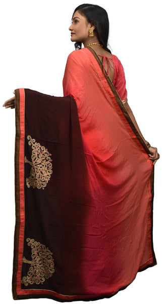 SMSAREE Coffee Brown & Pink Designer Wedding Partywear Crepe (Chinon) Thread & Stone  Hand Embroidery Work Bridal Saree Sari With Blouse Piece E596