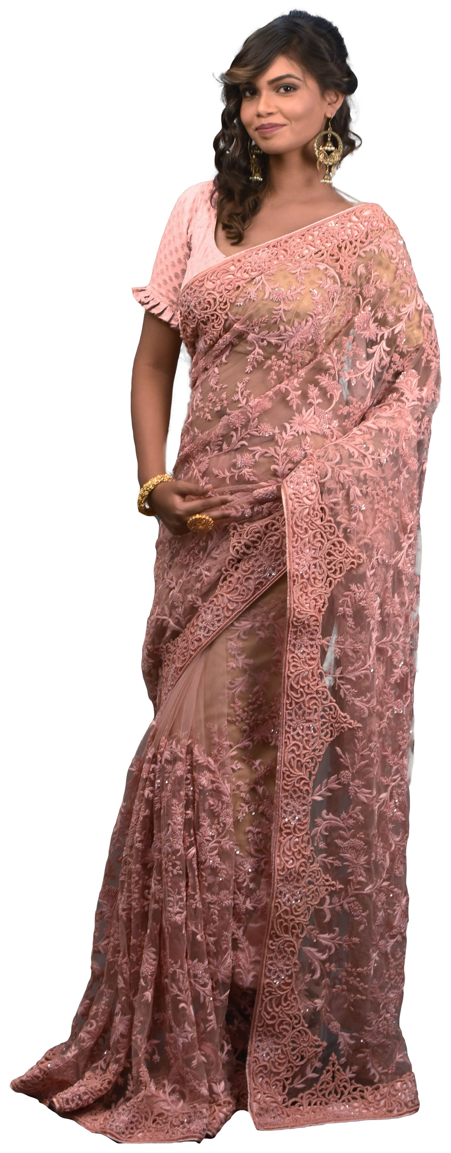SMSAREE Peach Designer Wedding Partywear Net Thread Pearl Sequence & Beads Hand Embroidery Work Bridal Saree Sari With Blouse Piece E600
