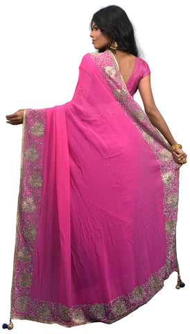 SMSAREE Pink & Blue Designer Wedding Partywear Pure Georgette & Net Cutdana Stone & Zari Hand Embroidery Work Bridal Saree Sari With Blouse Piece E613