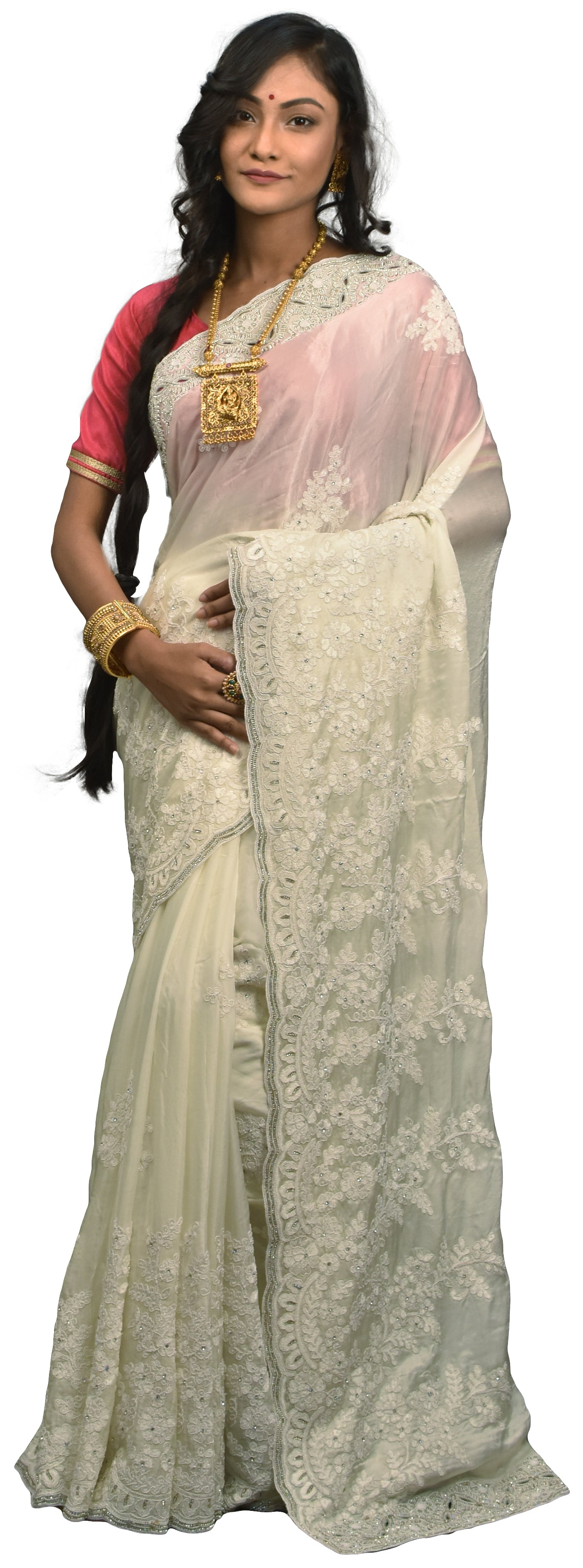 SMSAREE White Designer Wedding Partywear Crepe (Chinon) Thread Stone & Beads Hand Embroidery Work Bridal Saree Sari With Blouse Piece E630