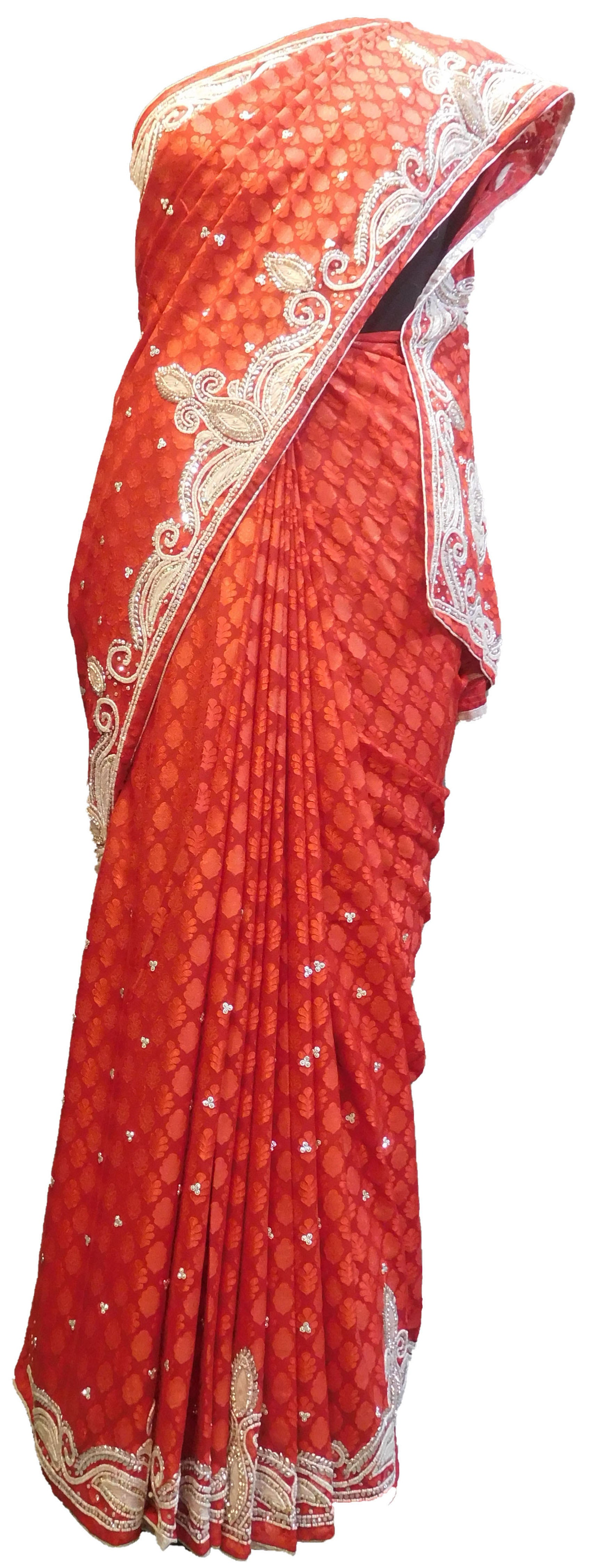 SMSAREE Red Designer Wedding Partywear Brasso Thread Beads & Stone Hand Embroidery Work Bridal Saree Sari With Blouse Piece E635