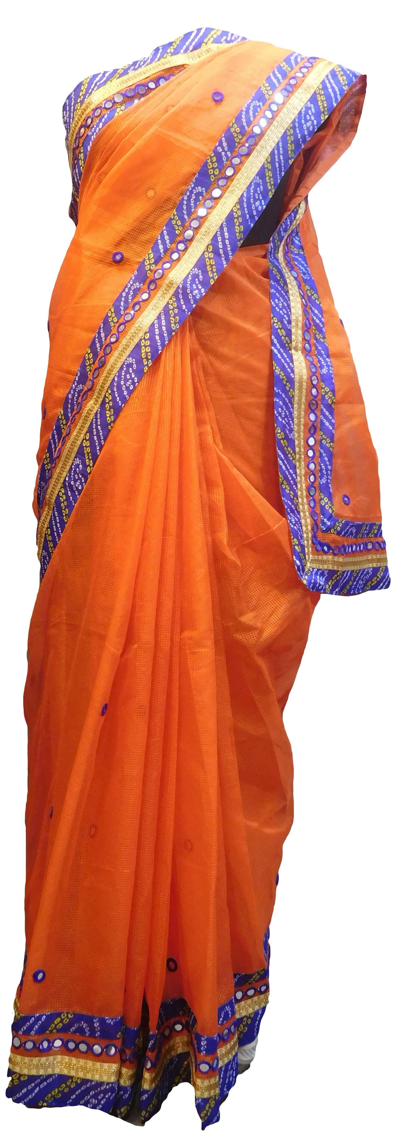 SMSAREE Orange Designer Wedding Partywear Supernet (Cotton) Thread Mirror & Zari Hand Embroidery Work Bridal Saree Sari With Blouse Piece E649