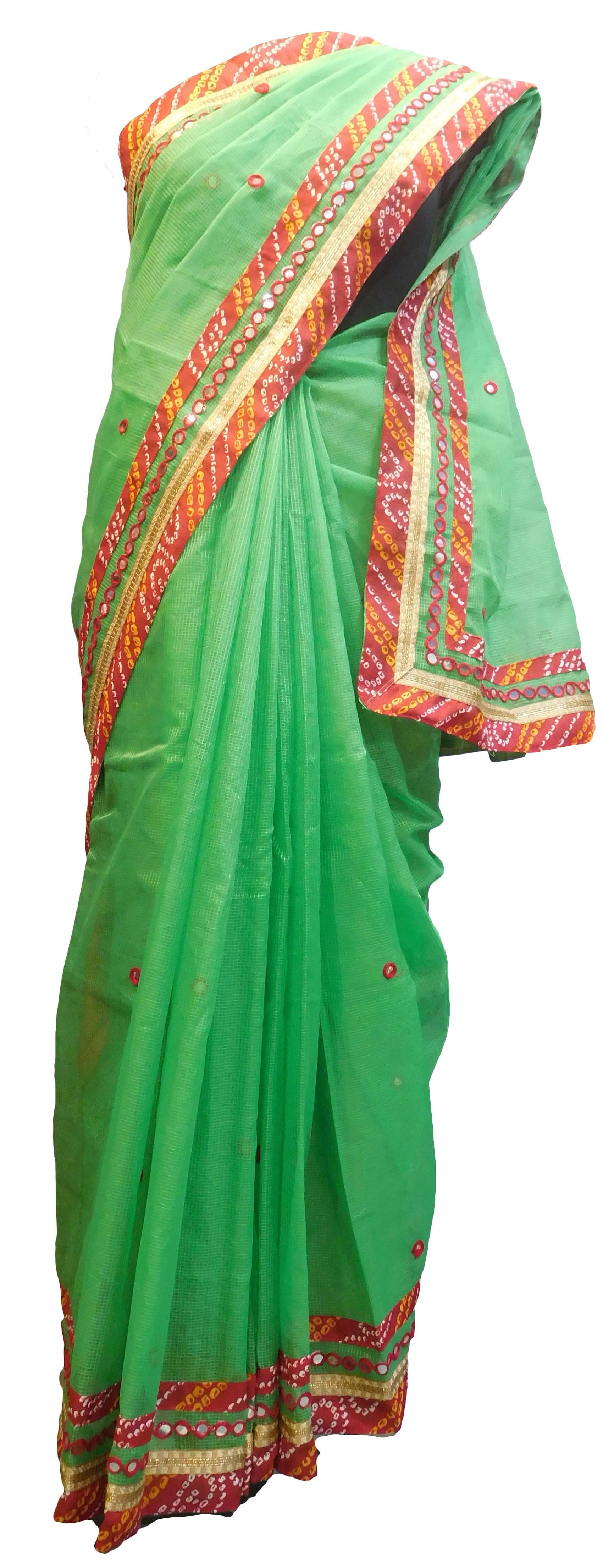 SMSAREE Green Designer Wedding Partywear Supernet (Cotton) Thread Mirror & Zari Hand Embroidery Work Bridal Saree Sari With Blouse Piece E650